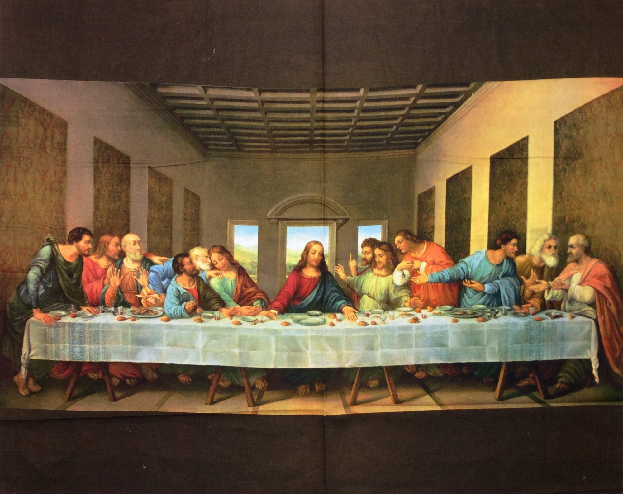 Religious The Last Supper Jesus Cotton Quilting Panel FT182