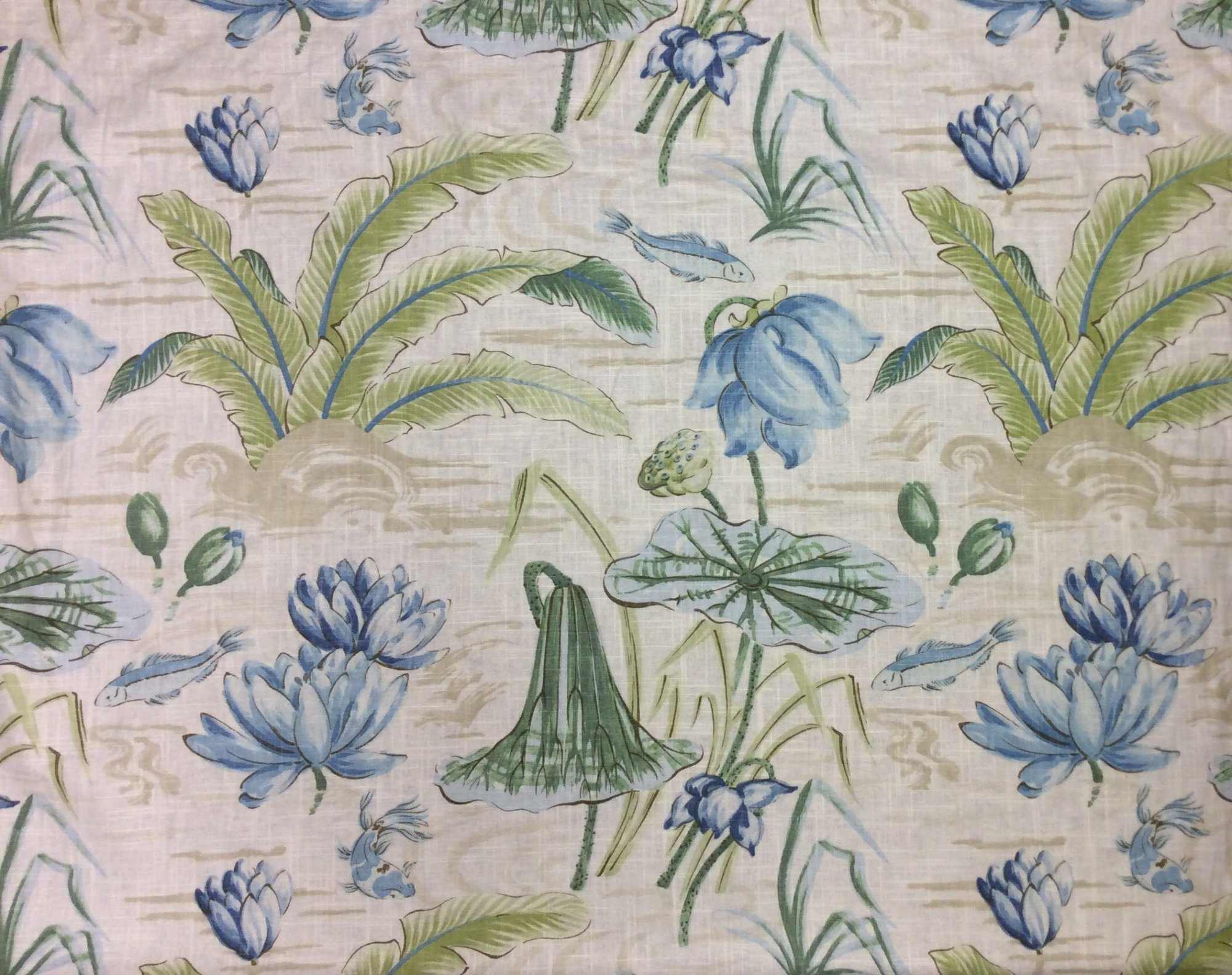 Water Lilly Floral Water Color Koi Fish Print Large Scale Flower Linen Texture Heavy Cotton Fabric Drapery Fabric HD378