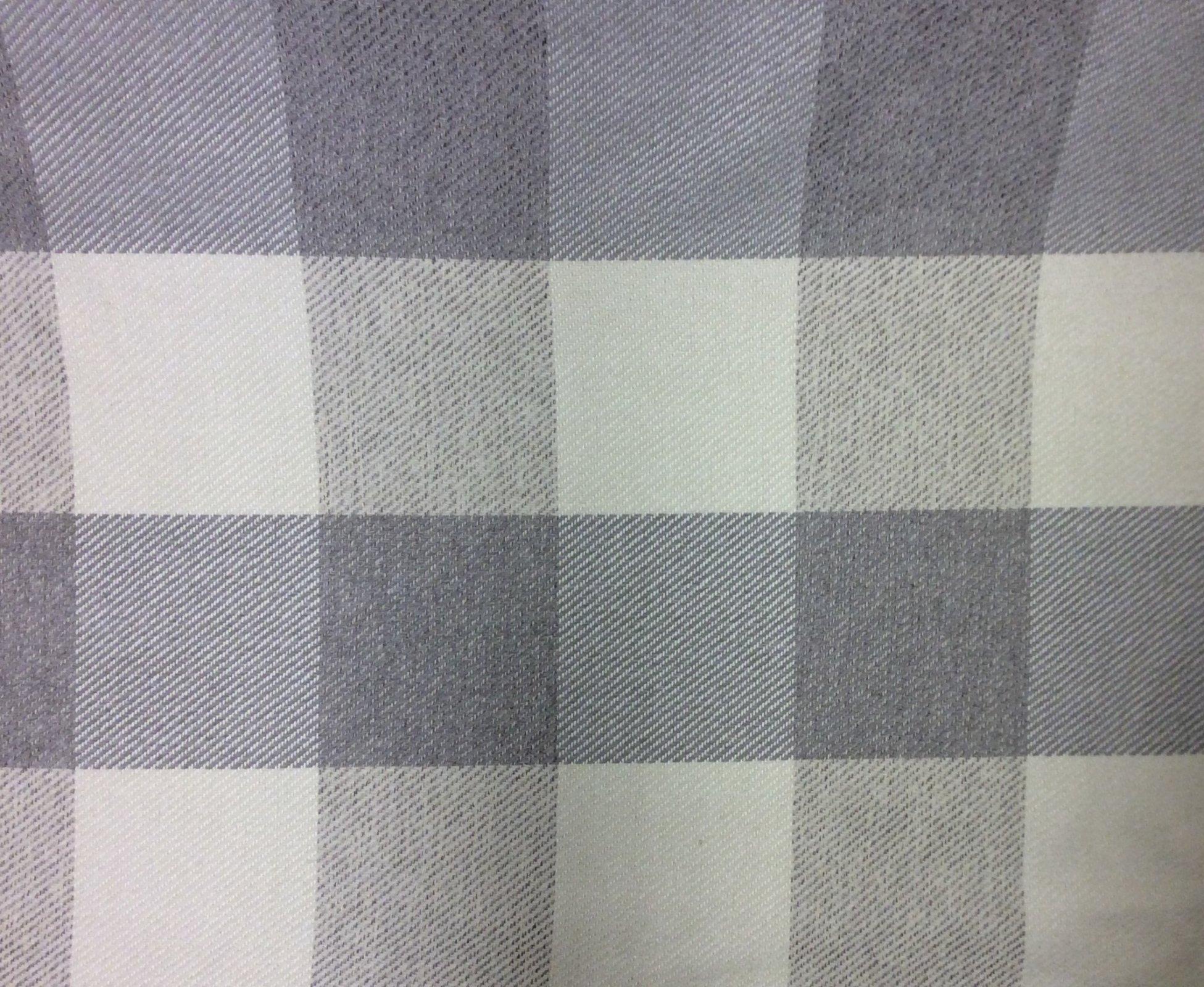 Woven Large Buffalo Check Gray Tone Upholstery Fabric Plaid Home Decor Textile JG734