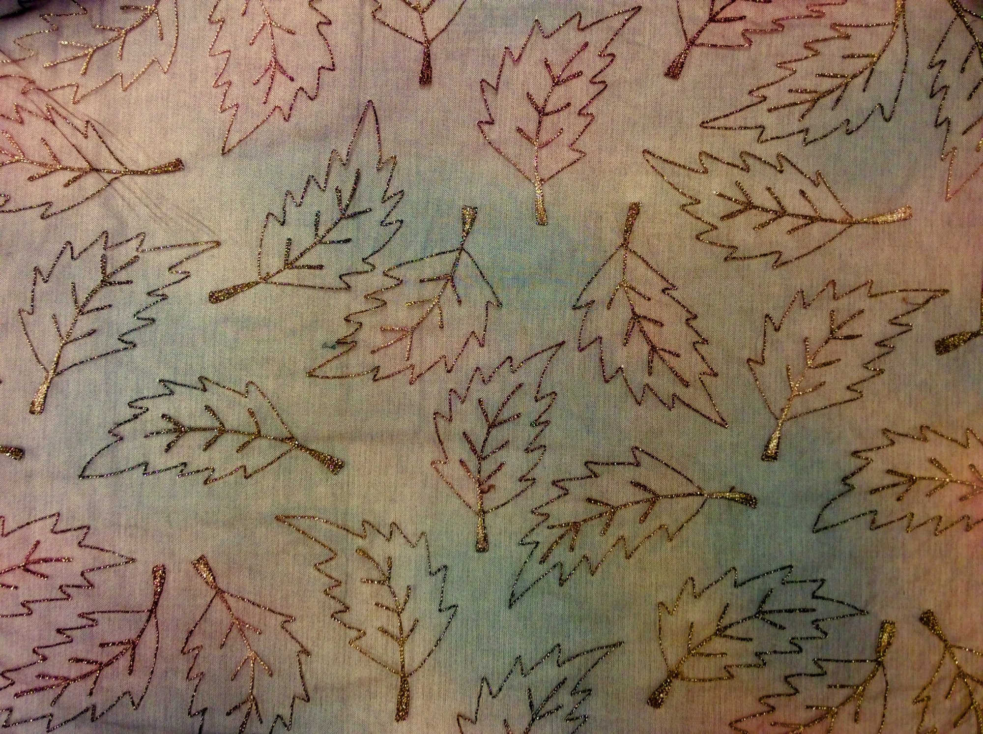 Ombre Embroidered tulle metallic leaf apparel netting fabric JG182