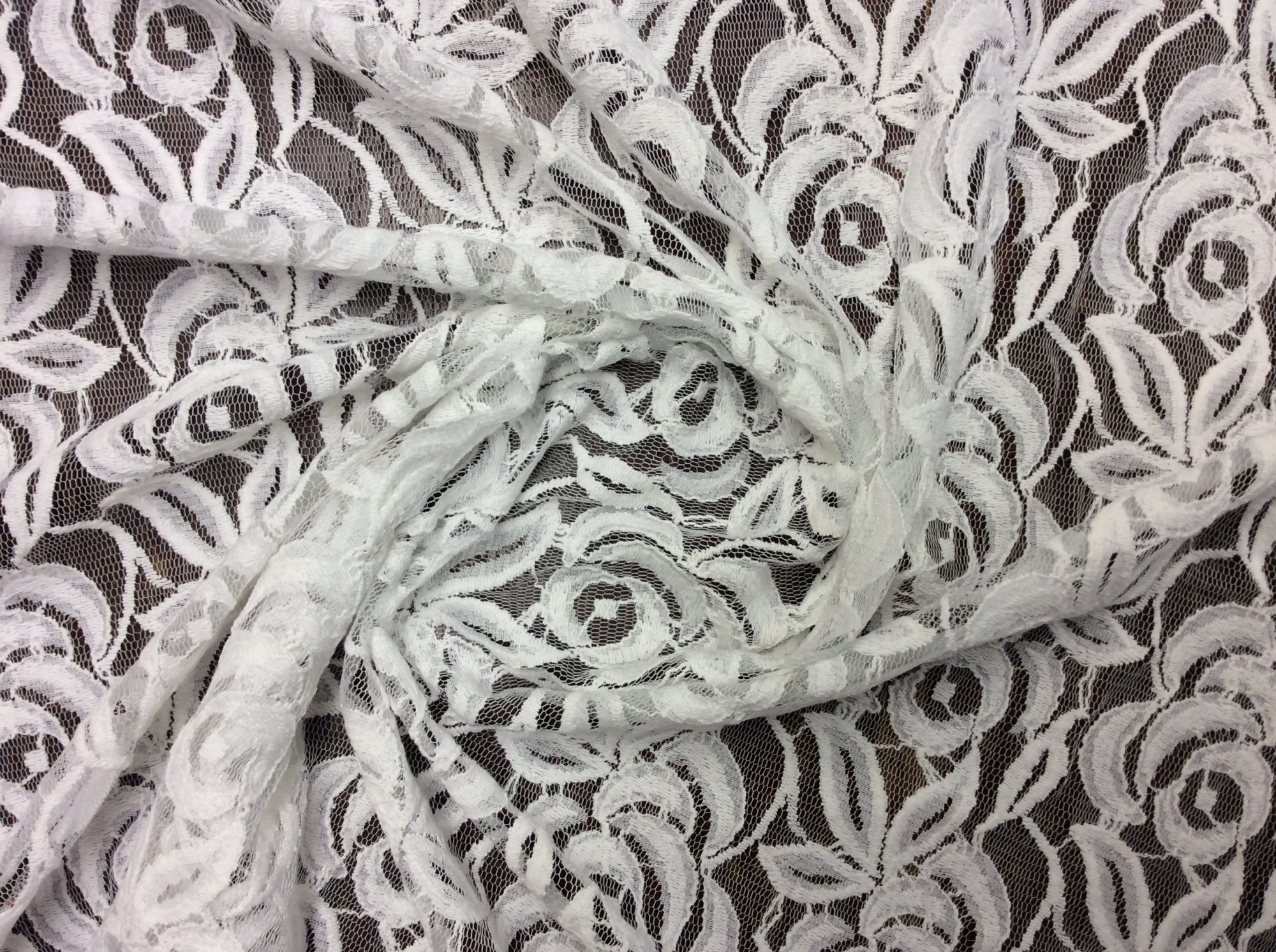 Casual White Rose Lace Cotton Feel Apparel Fabric LACE04