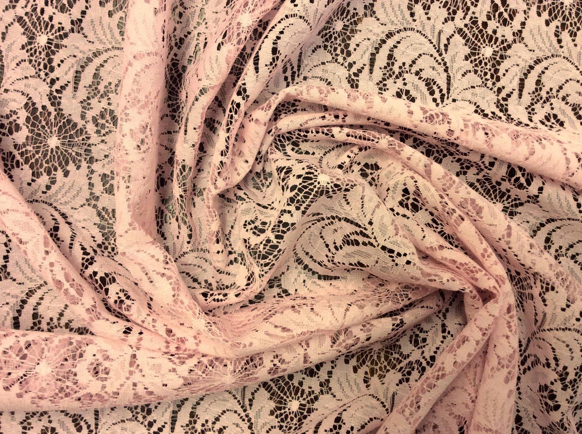 Pink Acanthus Leaf Lace Apparel Sewing Fabric LACE06