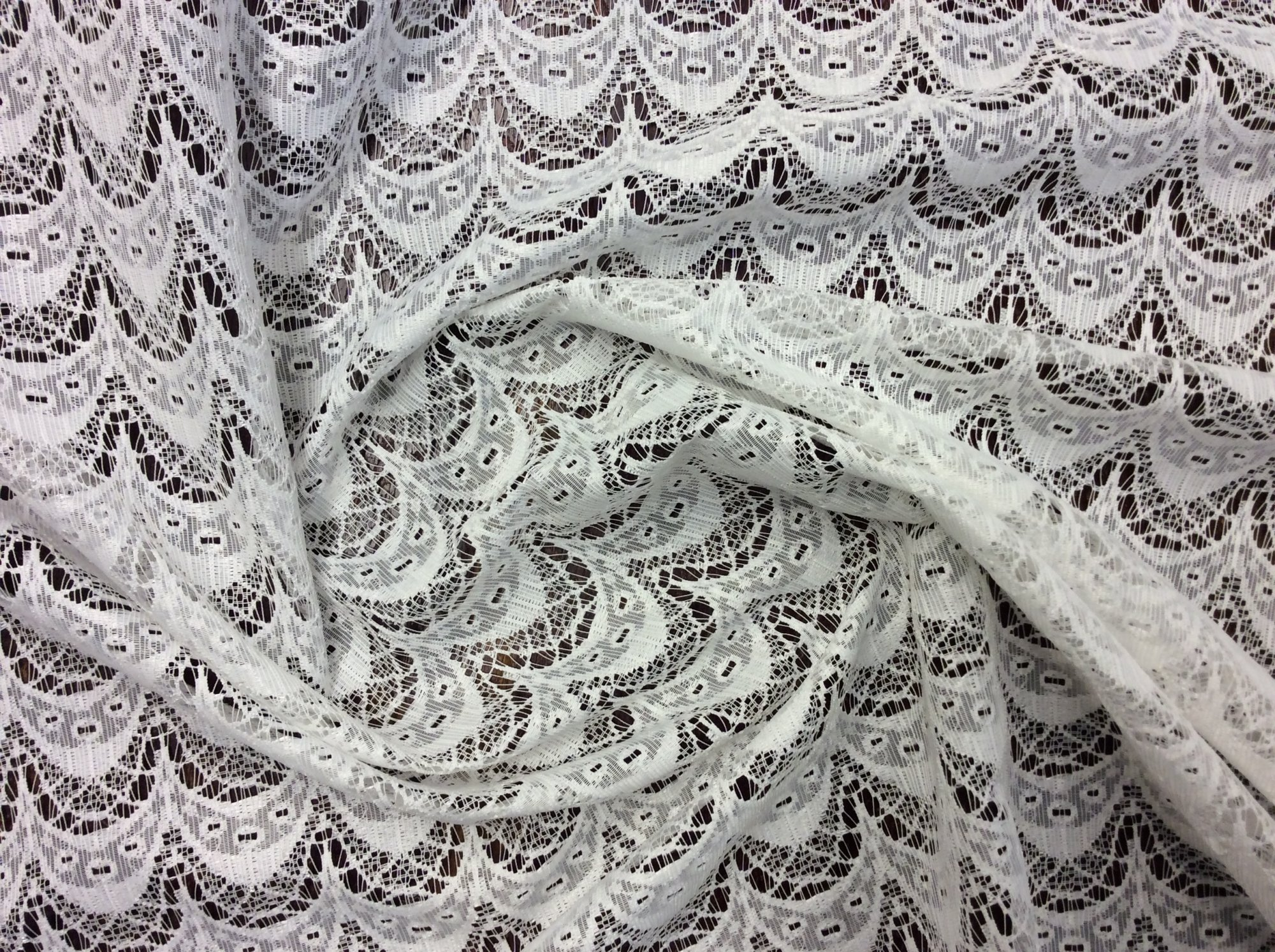 Lace Sheer Scallop Lace Ivory Curtain Fabric Drapery Fabric LDSO507
