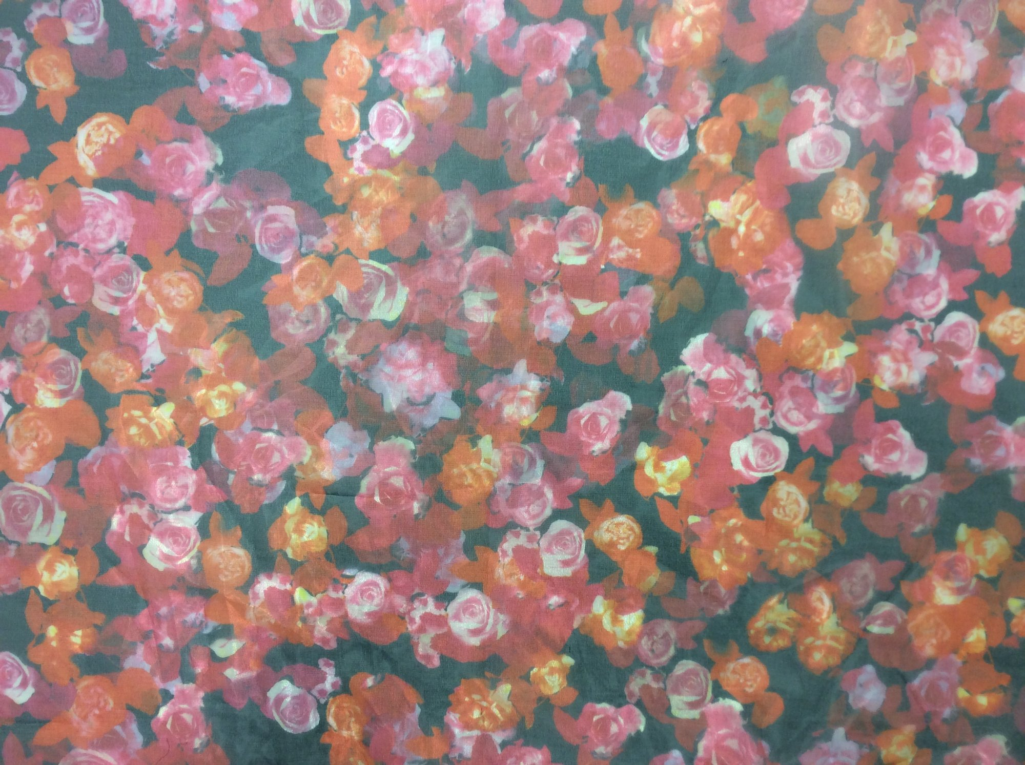 Digital Printed Rose Polyester Organza Dress Apparel Fabric FM1464
