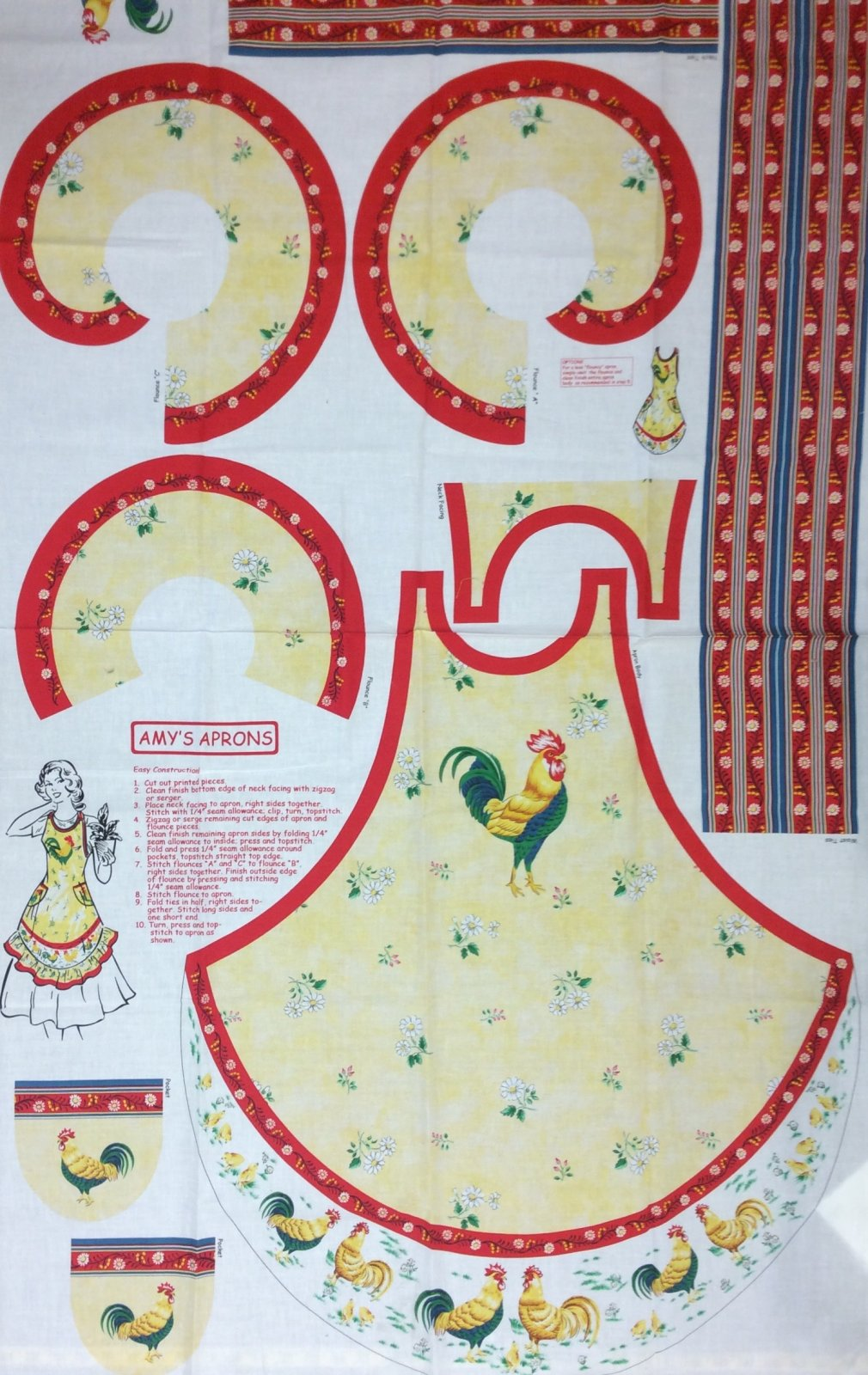 Chicken Country Farm Amy's Aprons Panel Retro Vintage Kitchen Rooster Cotton Fabric Quilt Fabric Apron to Cut out and Sew 782