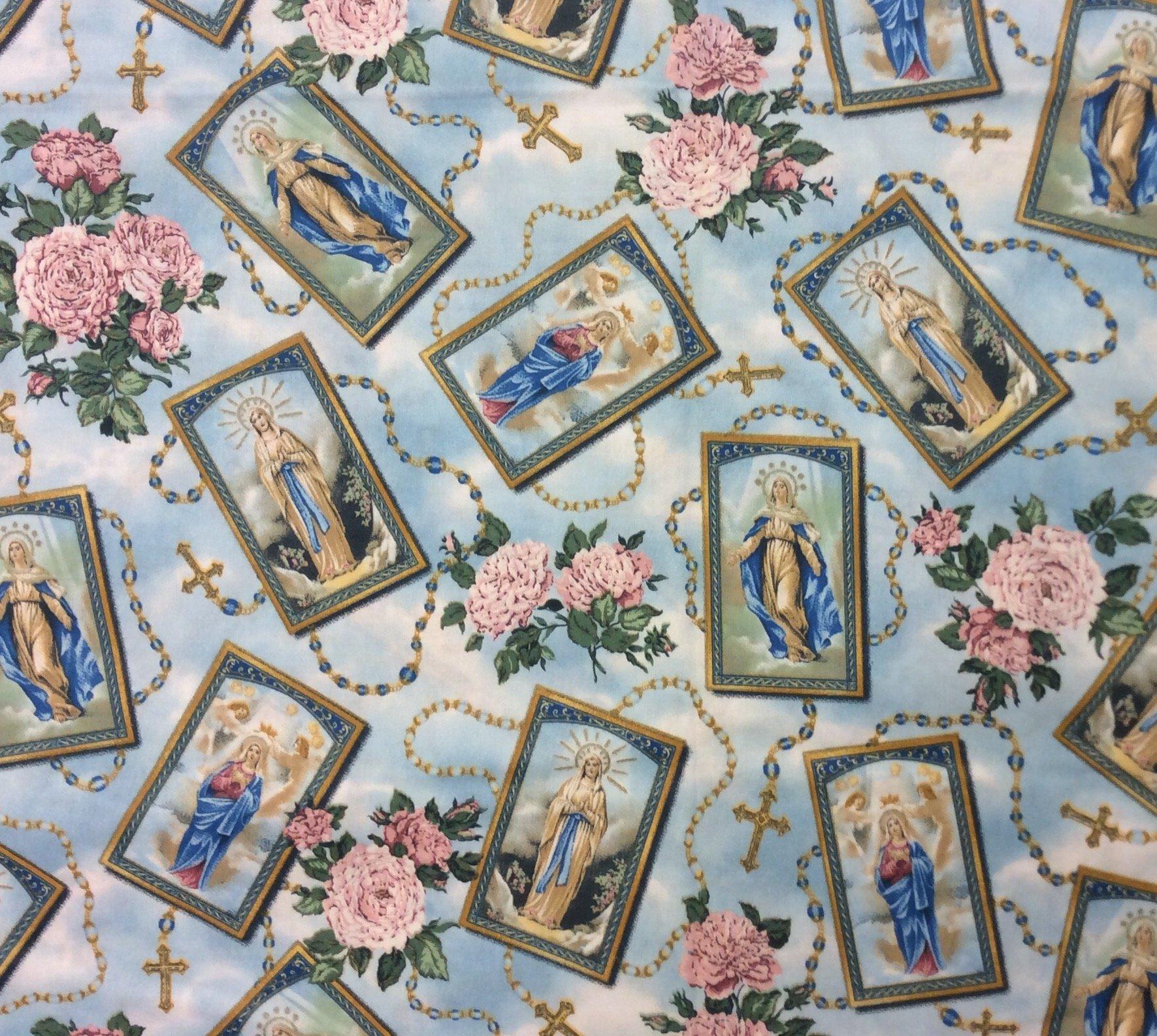 FAT QUARTER! Rare Out of Print Rosary Catholic Religious Garland of Roses Quilt Cotton Fabric RPFJAG1