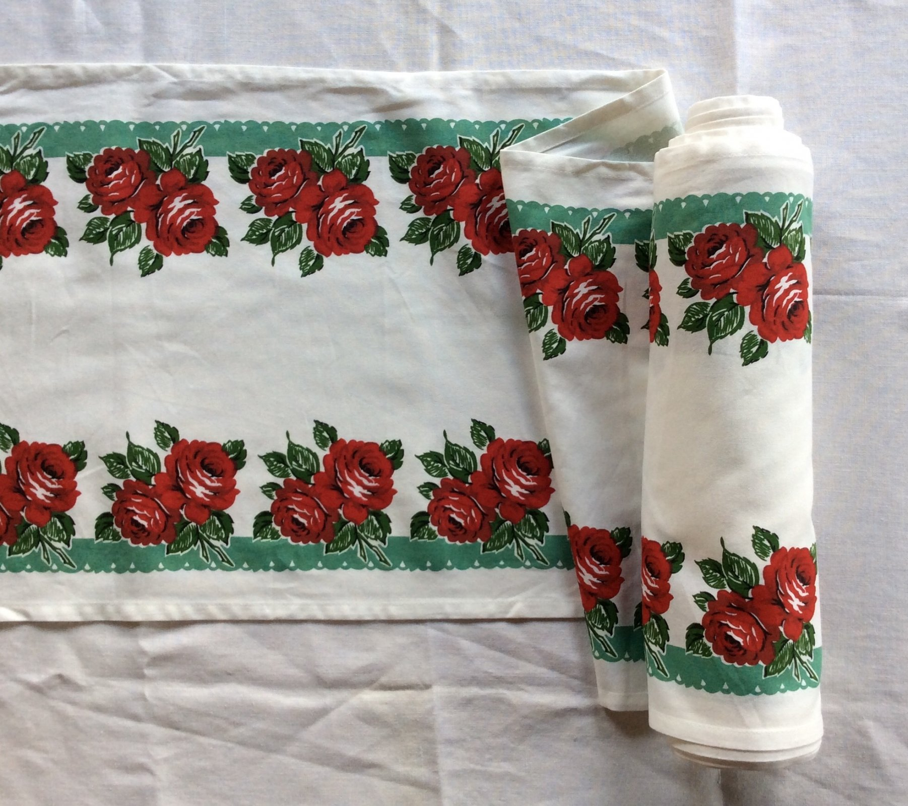 Toweling by the Yard Retro Fifties Style Mint Rose Cotton Toweling MOT107