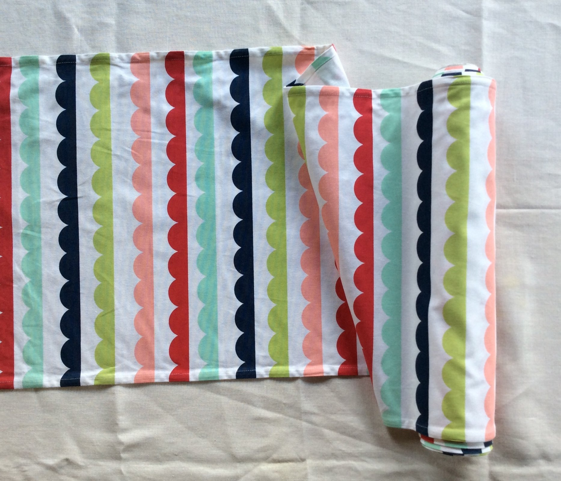 Retro Fun Scallop Design Pre Hemmed Cotton Toweling Fabric MOT208