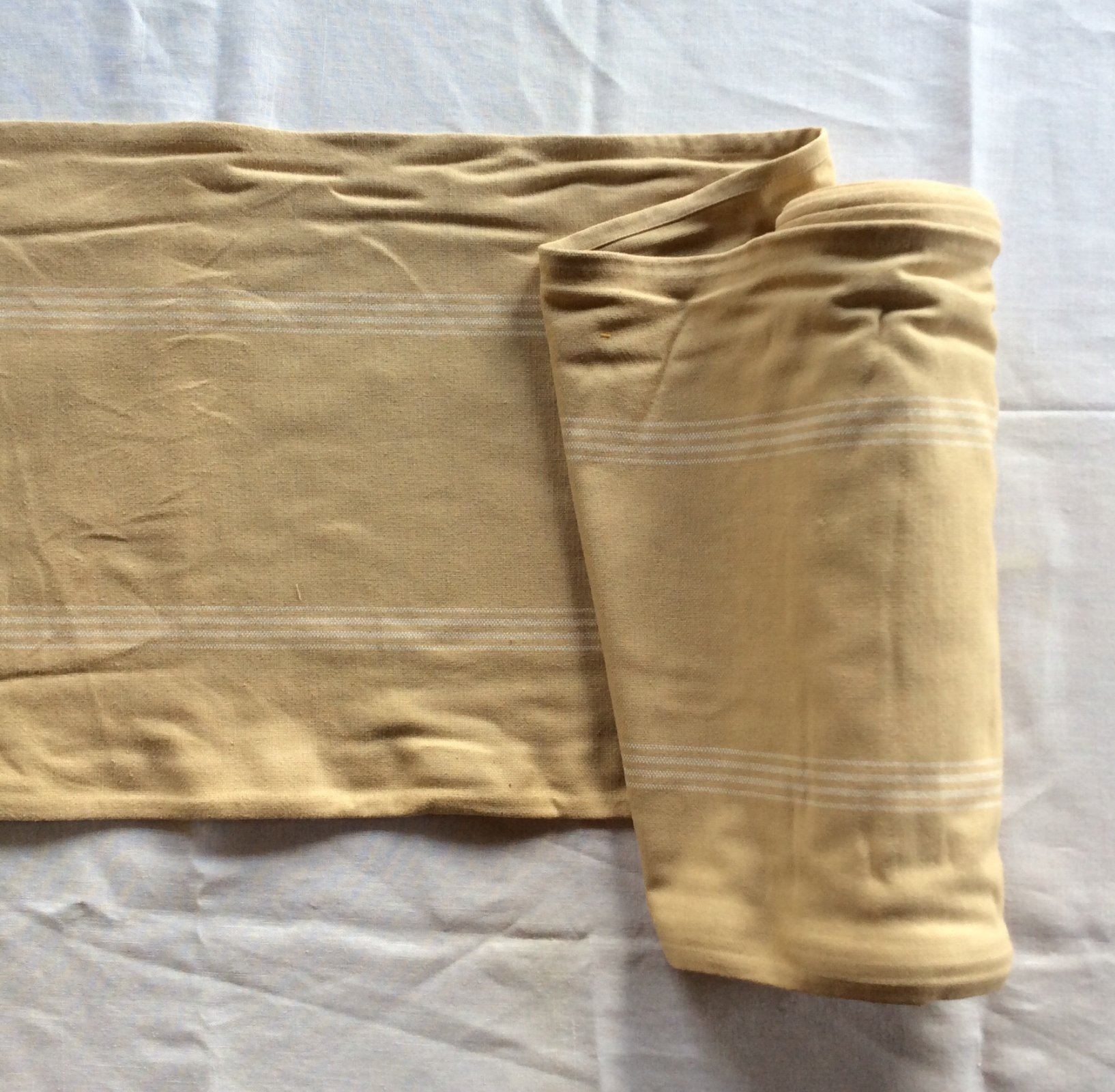 French Country Tan Stripe Cotton Toweling Fabric MOT31