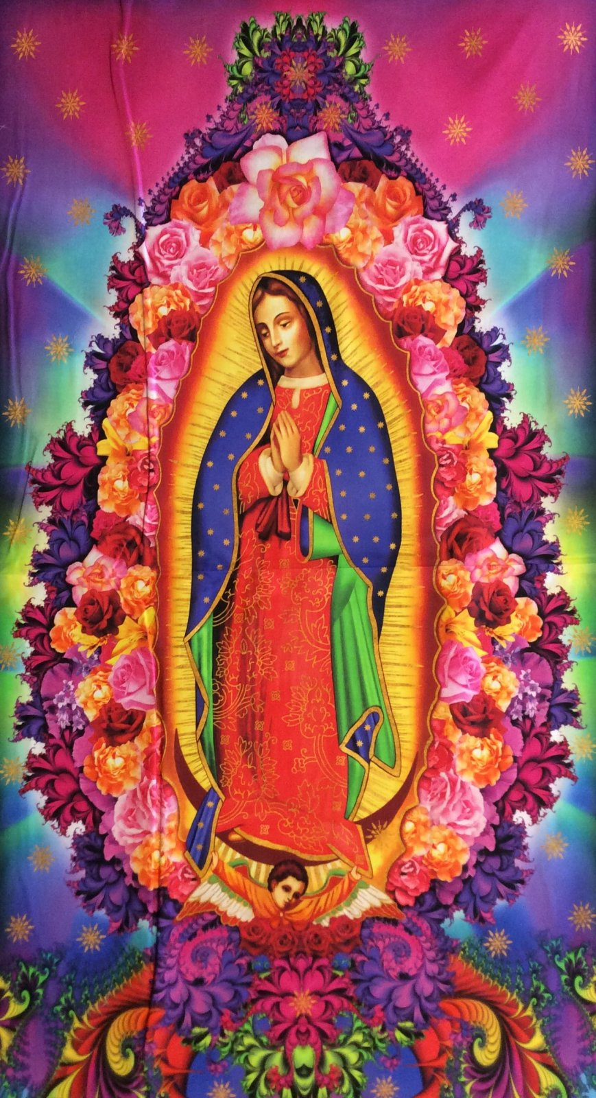 Our Lady of Guadalupe Fabric Large Scale Panel Psychedelic Cotton Quilting Fabric RK216