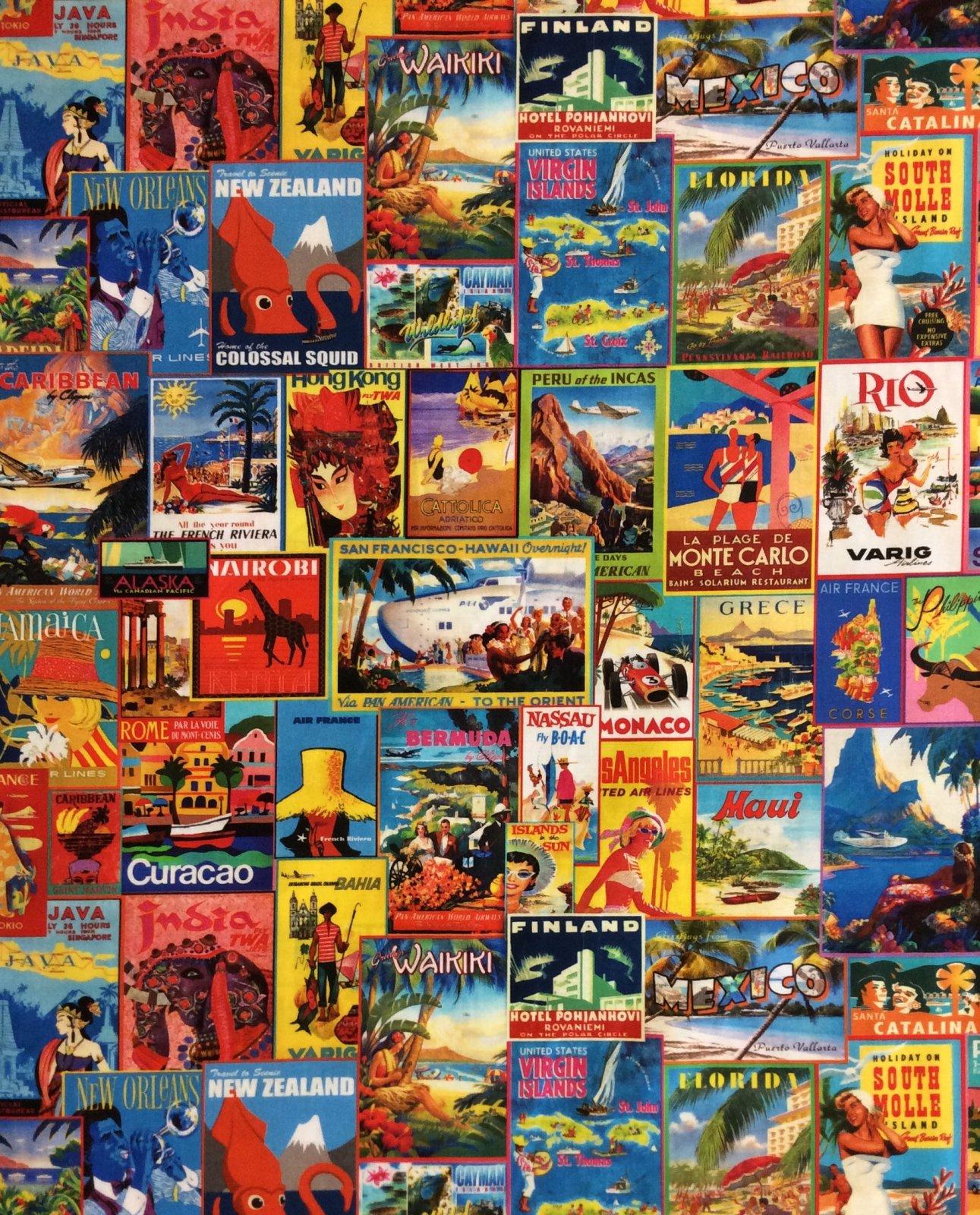 Vintage Travel Poster World Passport Luggage Stickers Cotton Quilt Fabric RK219