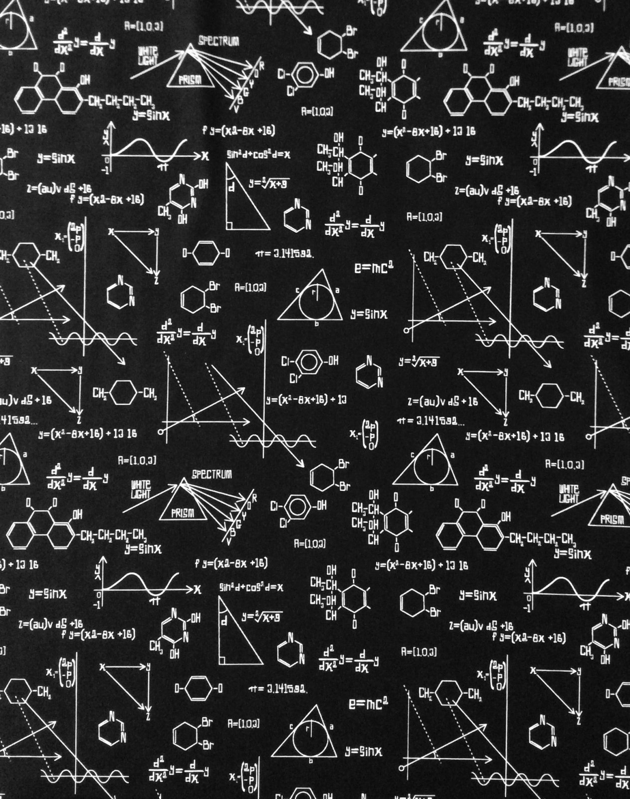STEM Science Equation Math Science Fair Cotton Quilt Fabric RK220