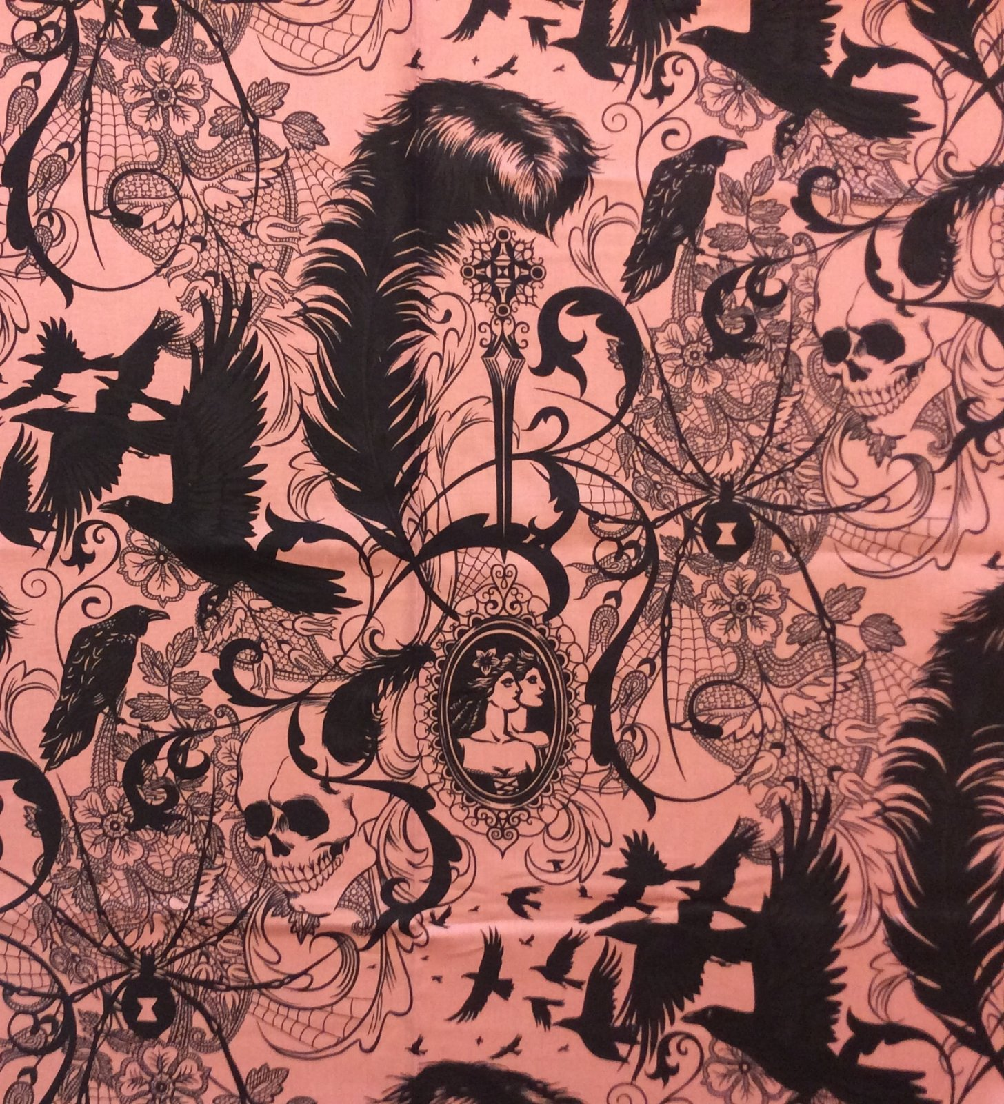 After Dark! Pink and Black Alexander Henry raven skulls cameo lace feather birds spider Cotton Fabric Quilt Fabric AH340