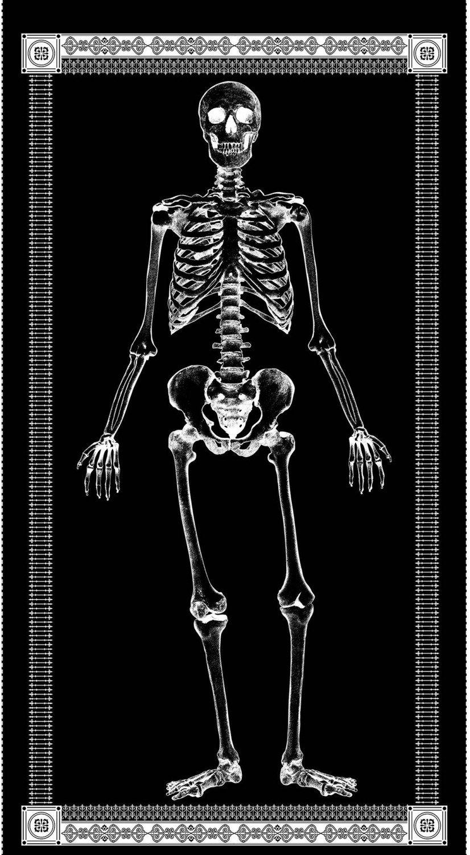 Glow in the Dark Skeleton Halloween Quilt Cotton Quilting Fabric Panel PNL133 TT64