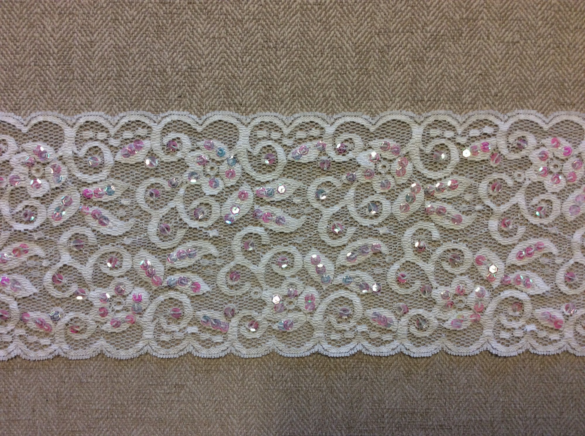 Wide Stretch White Lace with Light Pink Sequin Accents Apparel Fashion Trim RM78