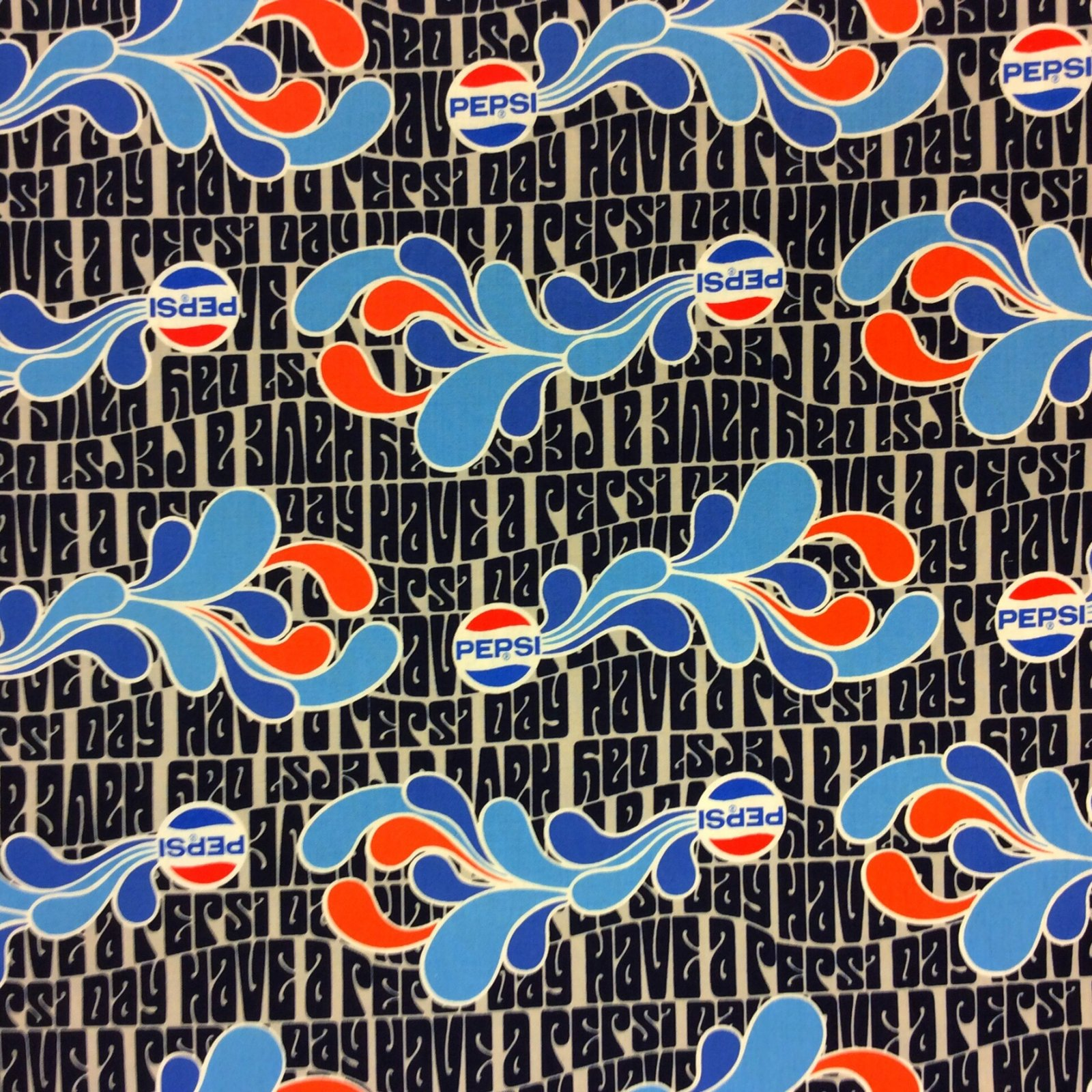 Pepsi Cola Soda Pop Retro Logo Cotton Quilt Fabric MD288