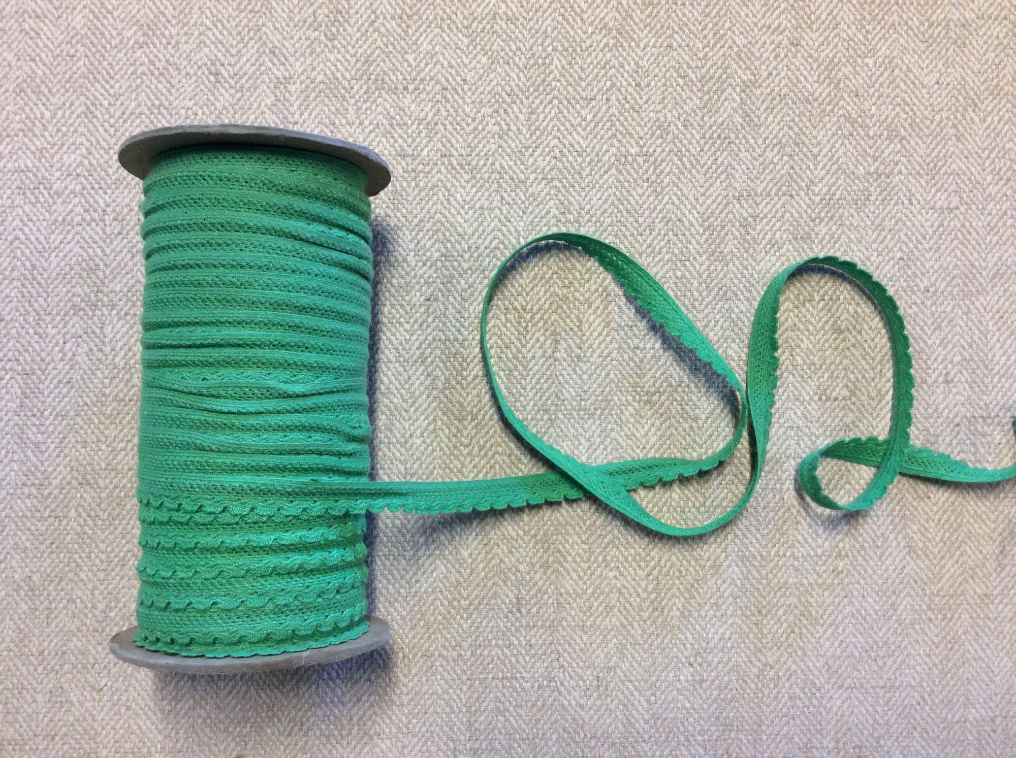 True Vintage 1970s Green Scalloped Trim Spool Apparel Tape TRIM956