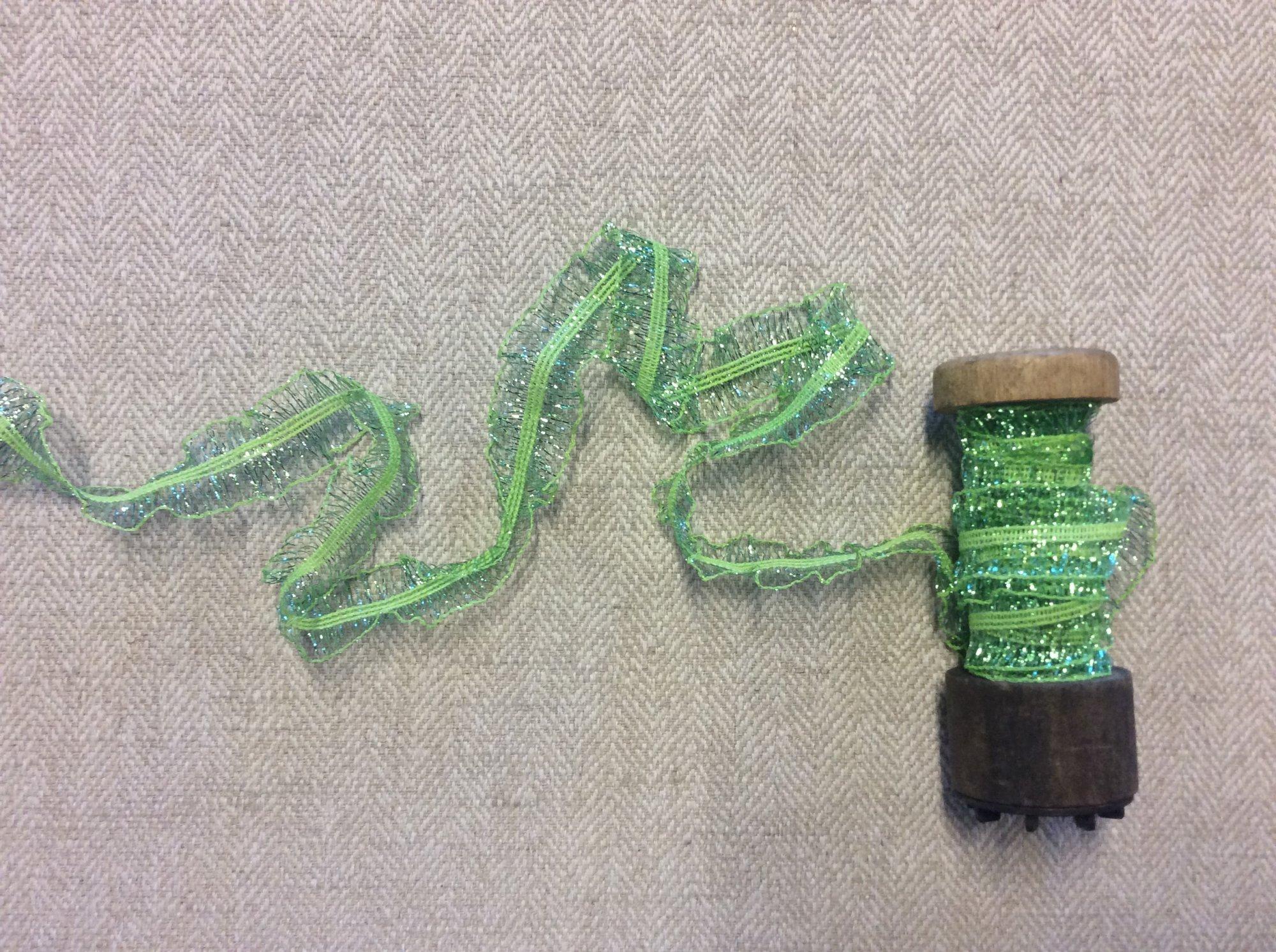 Lime Green Ruffled Elastic Tape Apparel Fashion Trim TRIM961