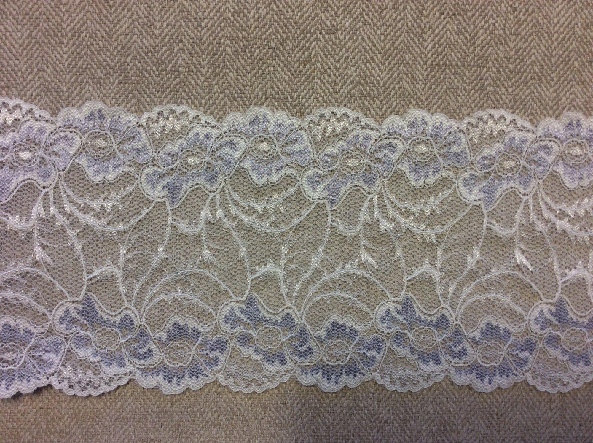 Stretch Lace White with Light Blue Floral Details Trim Apparel TRIM968
