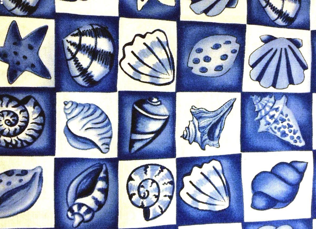 Seashells Blue and White Ocean Shell Blocks Sea Cotton Quilt Fabric TT16