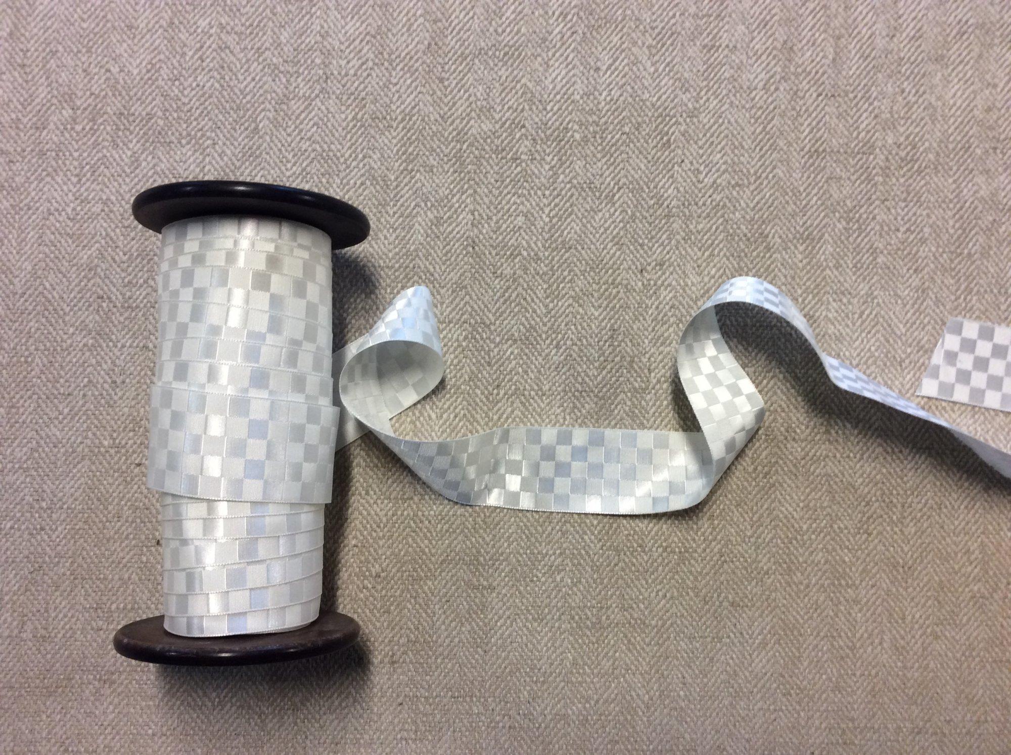 White Checkboard Modern Jacquard Apparel Ribbon Matte and Shiny TRIM997