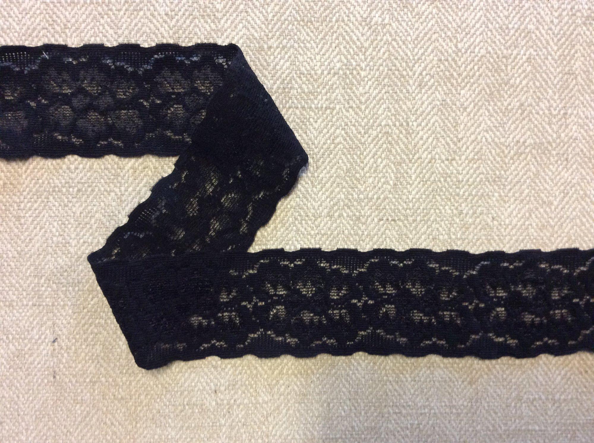 Black Floral Stretch Lace Ribbon Apparel Sewing Trim TRIM1023