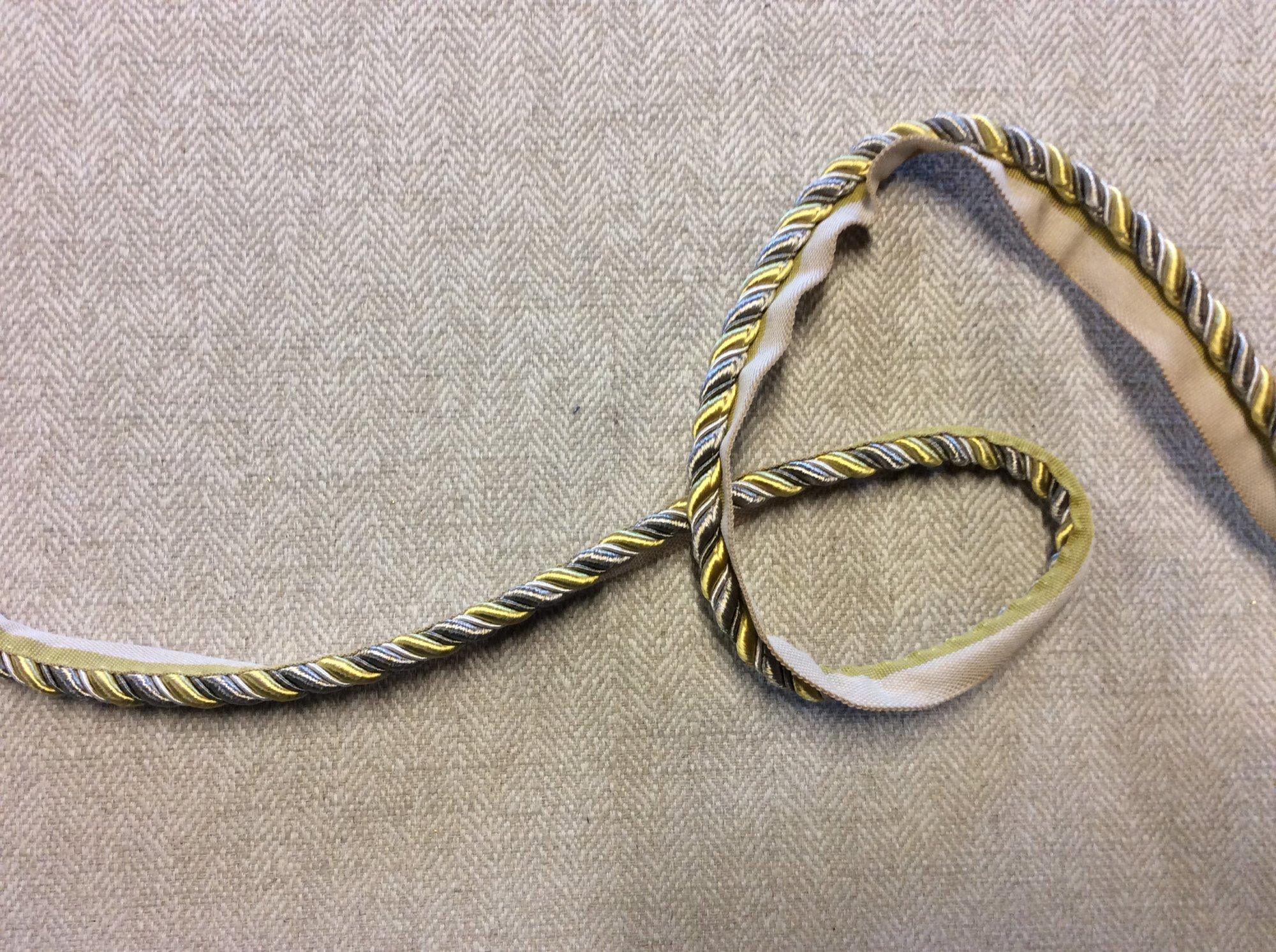 Silver Gray and Yellow Gold Lip Cord Home Decor Trim TRIM1025