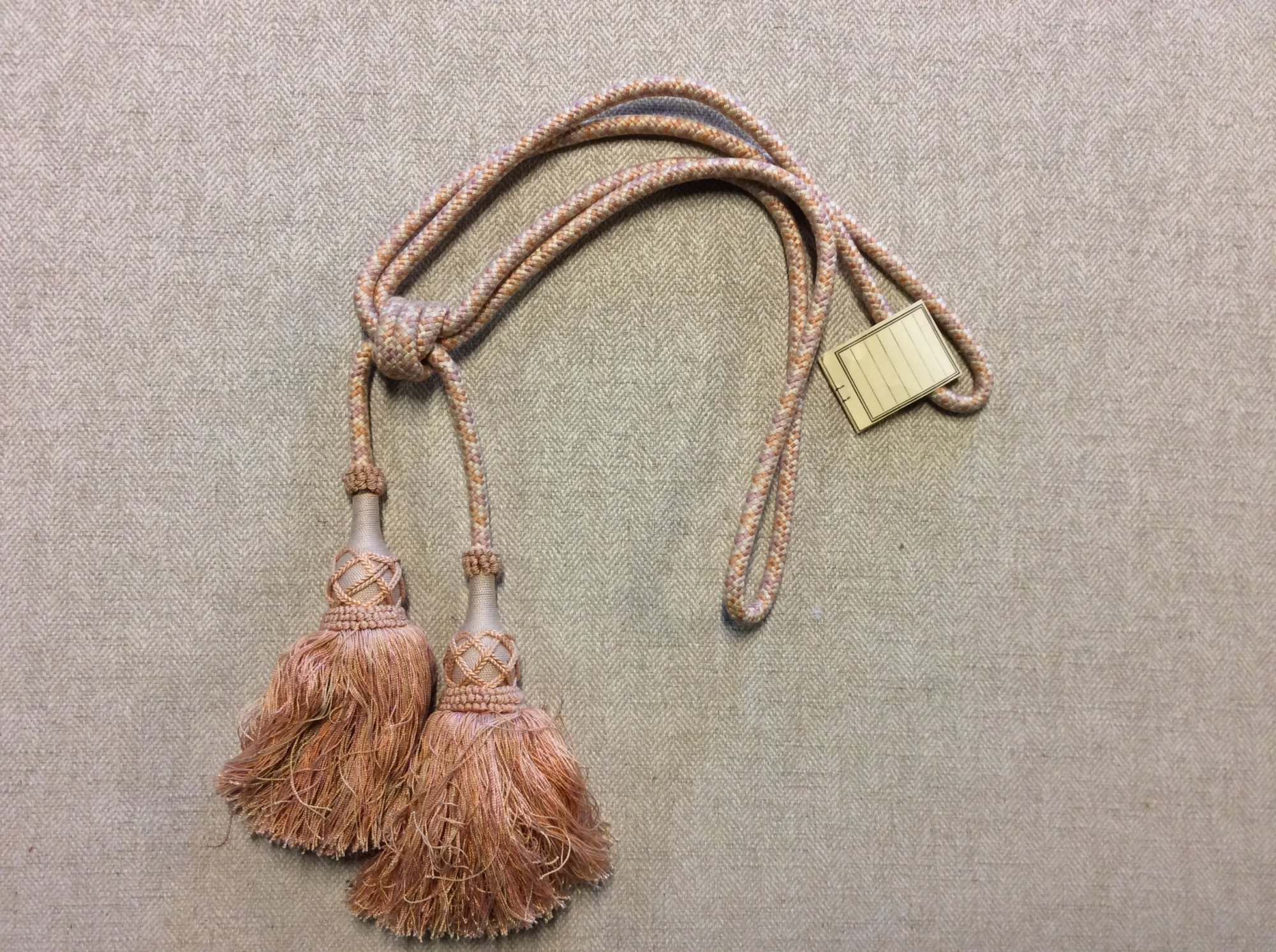 Vintage Brunschwig and Fils Double Tassel Tieback Coral Peach and OffWhite Cotton Drapery Home Decor Tassel 90336.05 Color 6