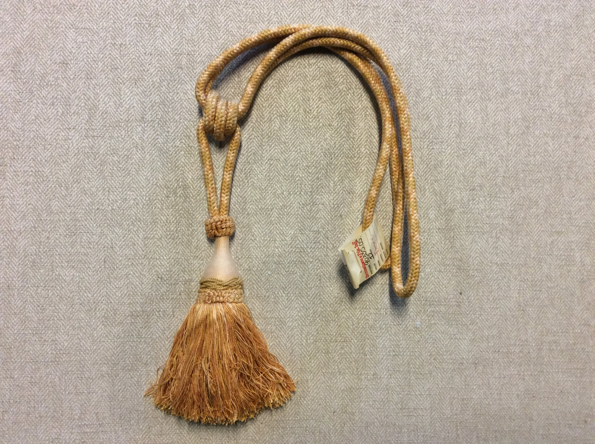 Vintage Brunschwig and Fils Single Tassel Tieback Gold Cotton Drapery Home Decor Tassel 90335.05 Color 12