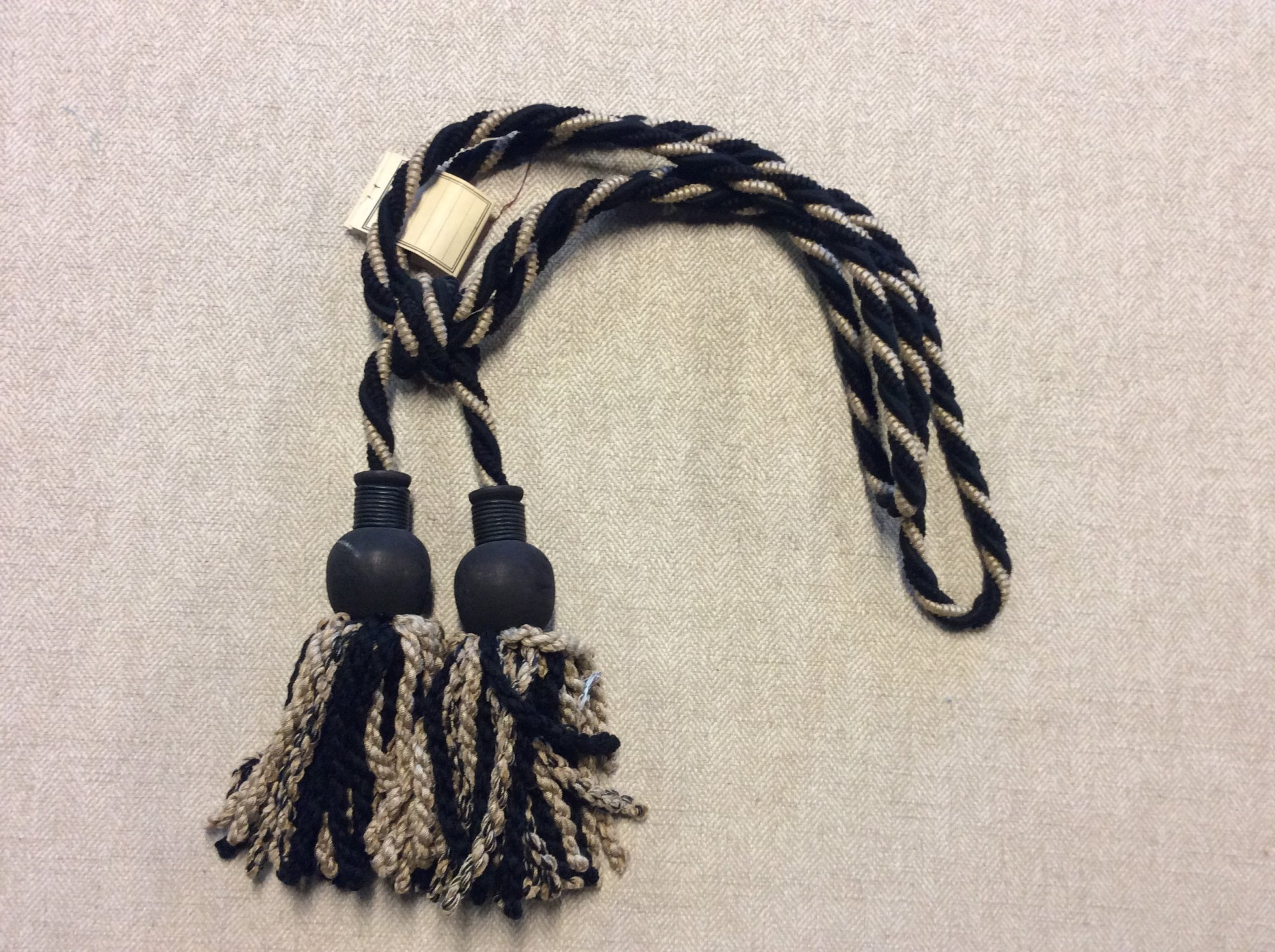 Vintage Brunschwig and Fils Double Tassel Tieback Black and Camel with Wood Accent Cotton Drapery Home Decor Tassel 39067-M90