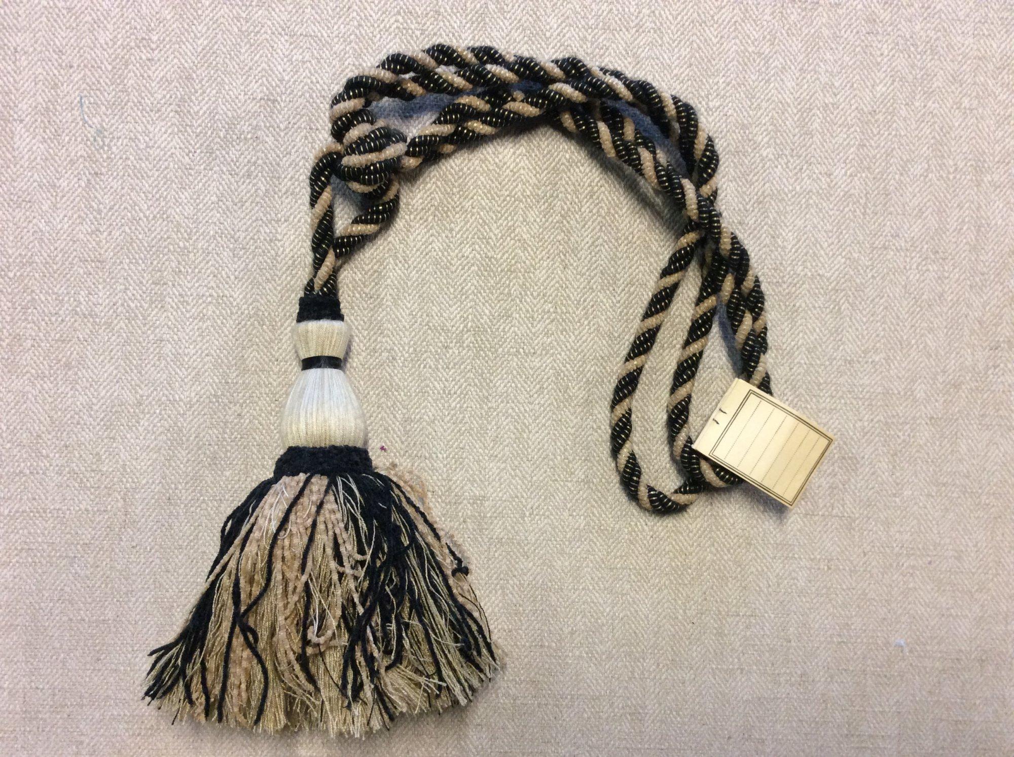 Vintage Brunschwig and Fils Single Tassel Tieback Black and Camel Cotton Drapery Home Decor Tassel 39031-M09