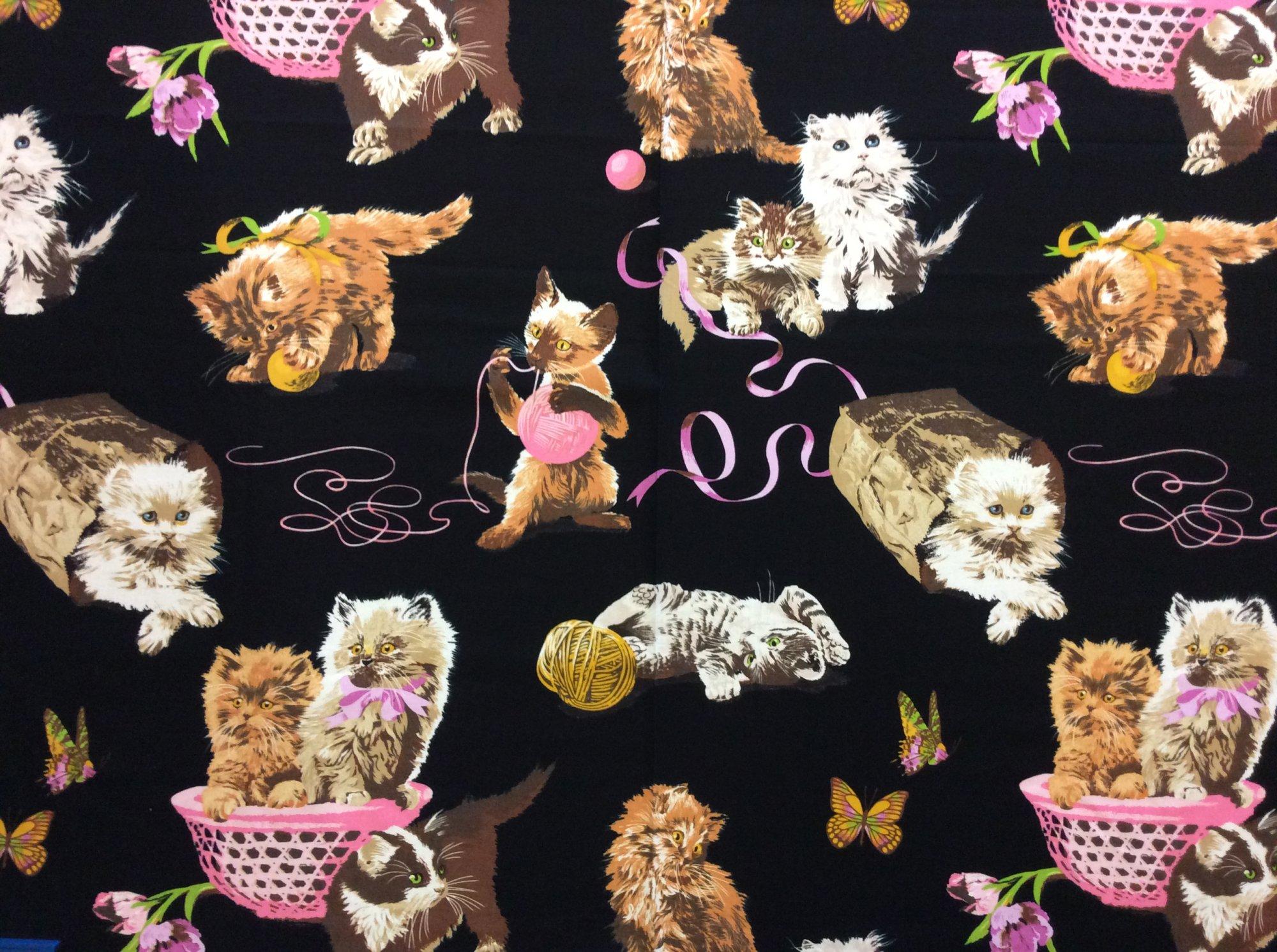 Whats New PussyCat Rare Out of Print Alexander Henry Cat Fabric Kitten Cotton Quilt Fabric AH348