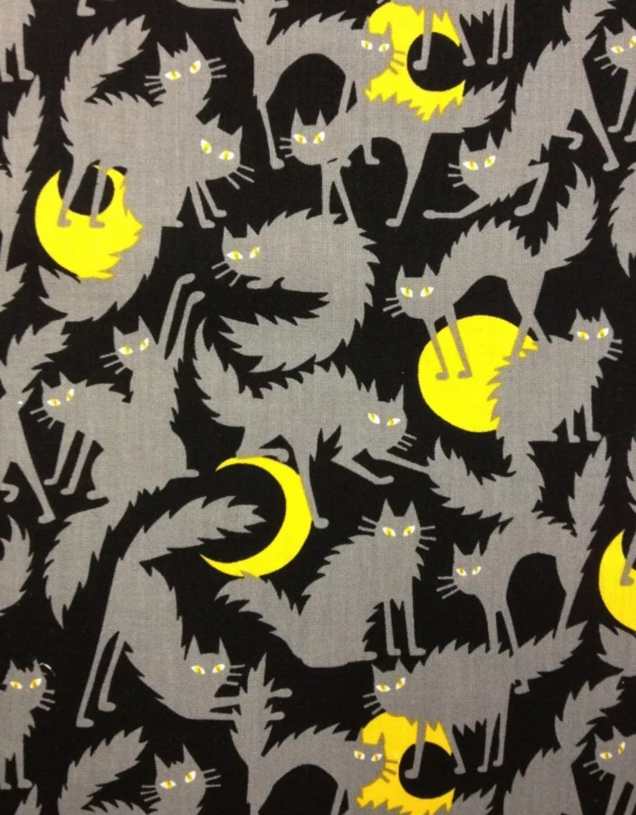 Ghastley Cat Gray Scaredy Cats Kitten Crescent Moons Halloween Cotton Fabric Quilt Fabric R62 FF73