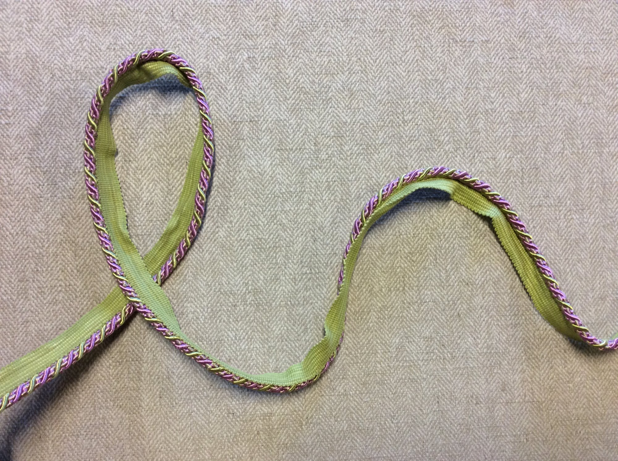 Wisteria and Lime Green Braided Lip Cord Home Decor Trim TRIM1049