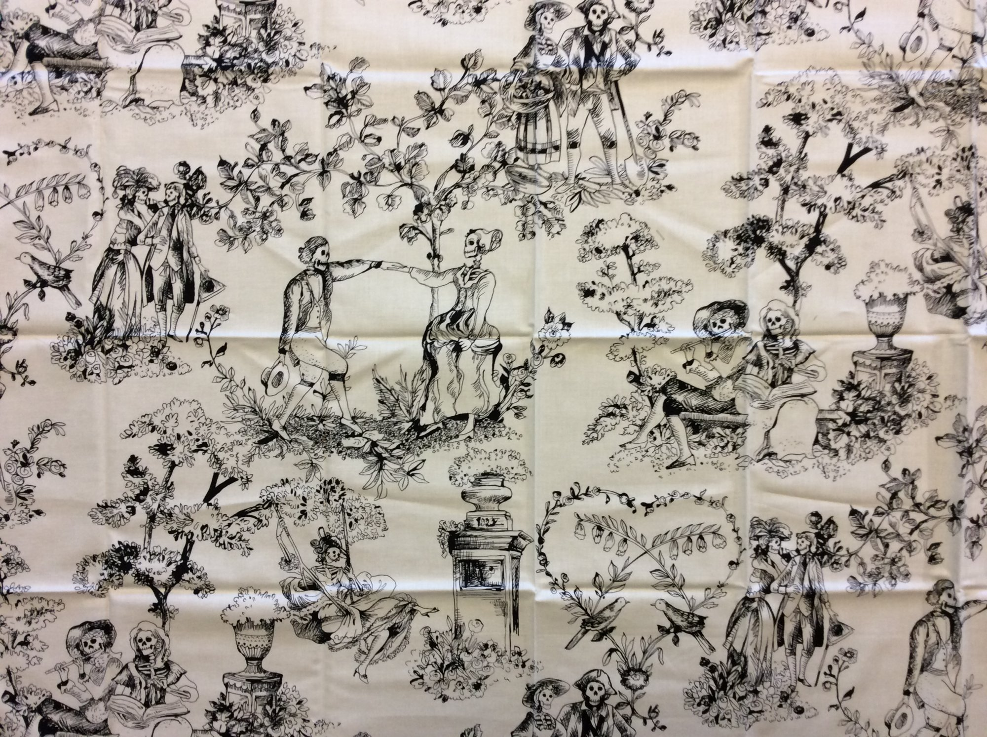 Rare! Out of Print Alexander Henry! Sold by the Piece the romantics Skeleton Toile Black and Cream Halloween Skull Cotton Quilt Fabric RPAH05