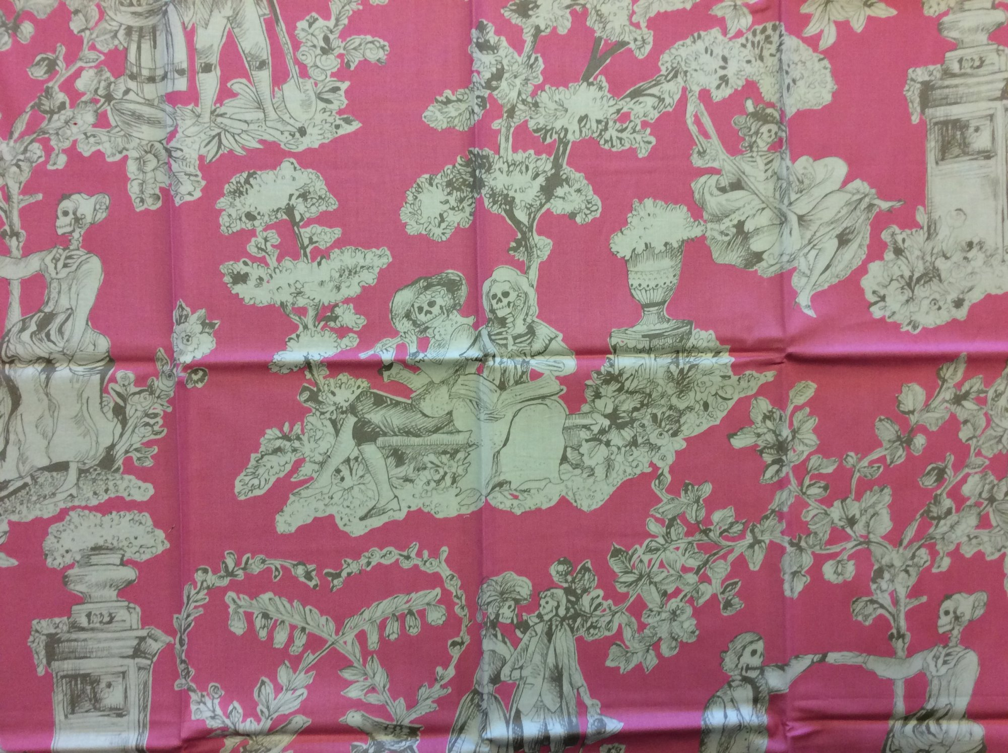 Rare! Out of Print Alexander Henry! Sold by the Piece the romantics Skeleton Toile Pink and Gray Halloween Skull Cotton Quilt Fabric RPAH06
