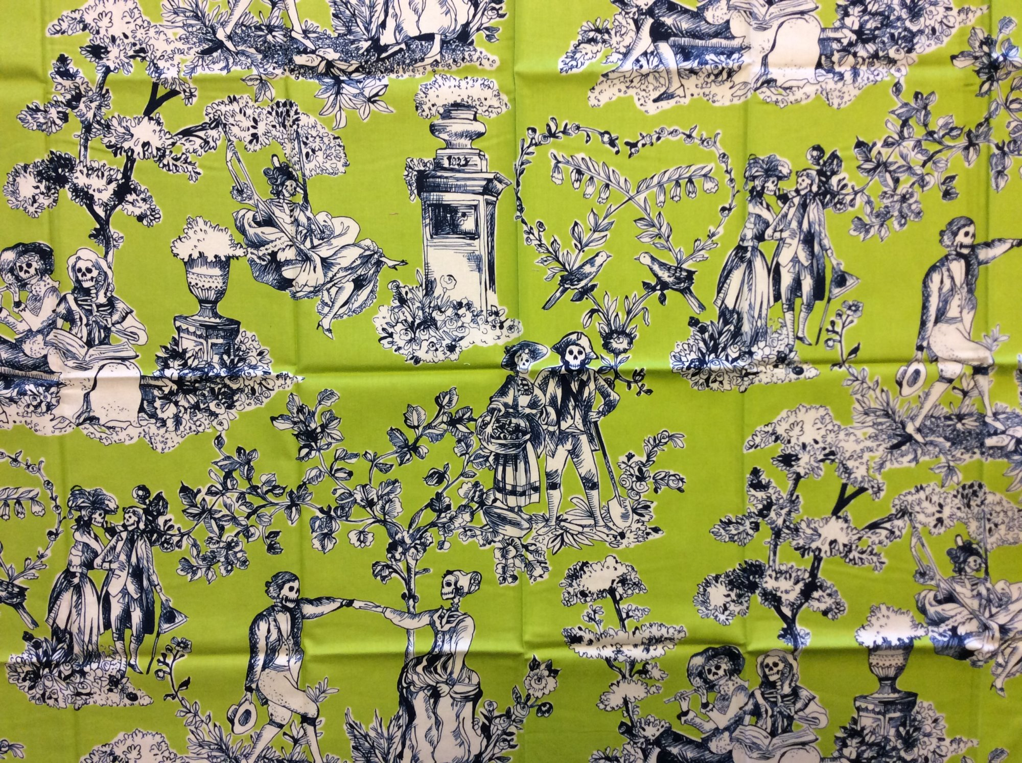 Rare! Out of Print Alexander Henry! Sold by the Piece the romantics Skeleton Toile Lime and Navy Halloween Skull Cotton Quilt Fabric RPAH07