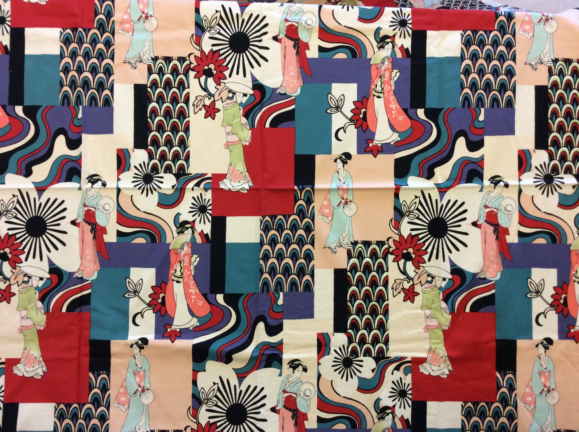Rare! Out of Print Alexander Henry! Sold by the Yard little tokyo Geisha Japan Modern Fashion Floral Cotton Quilt Fabric RPAH20