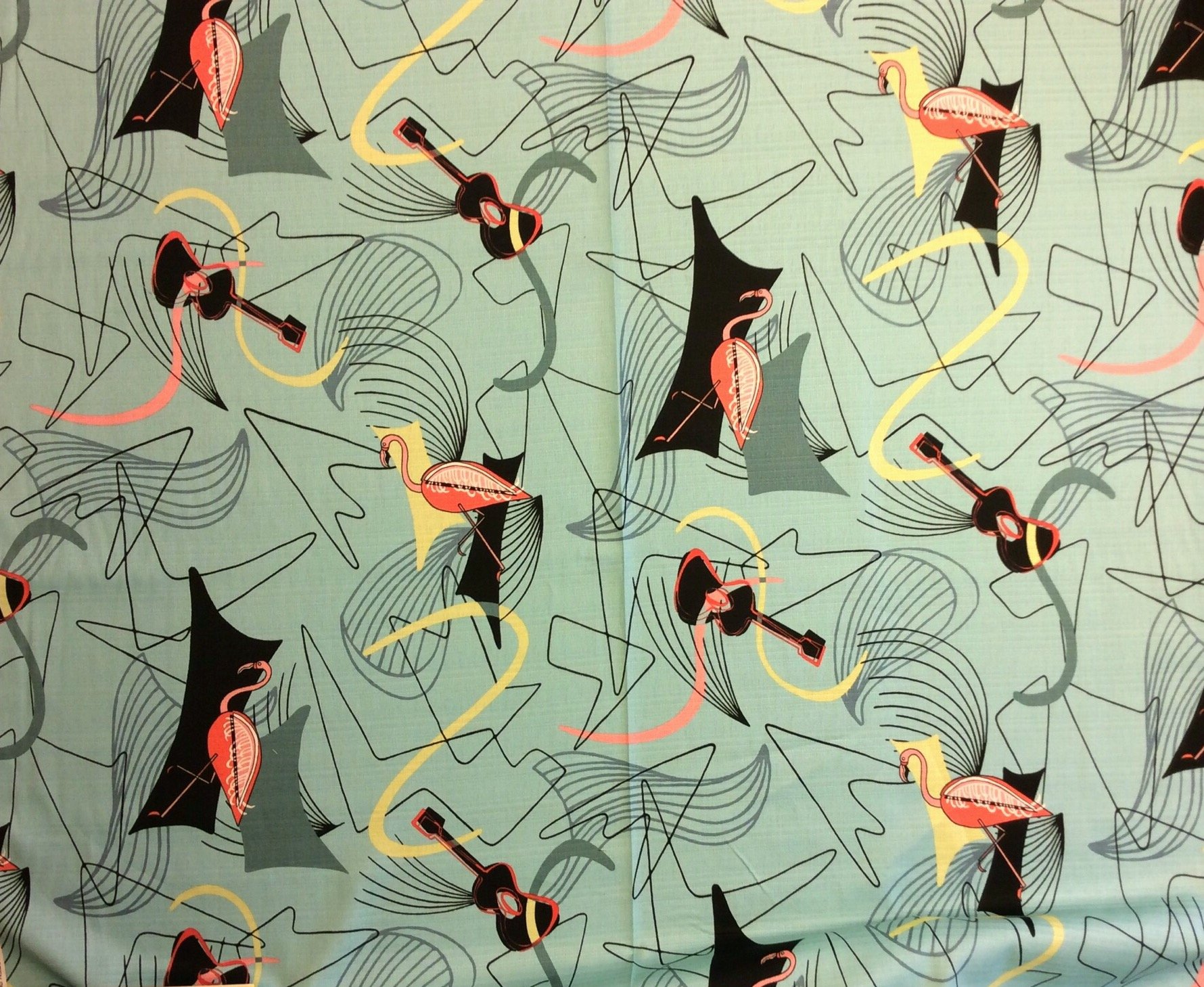 Atomic Retro Barkcloth Flamingo Boomerang Sputnik MCM Mid Century Modern Slubby Texture Home Dec Cotton Fabric NT39