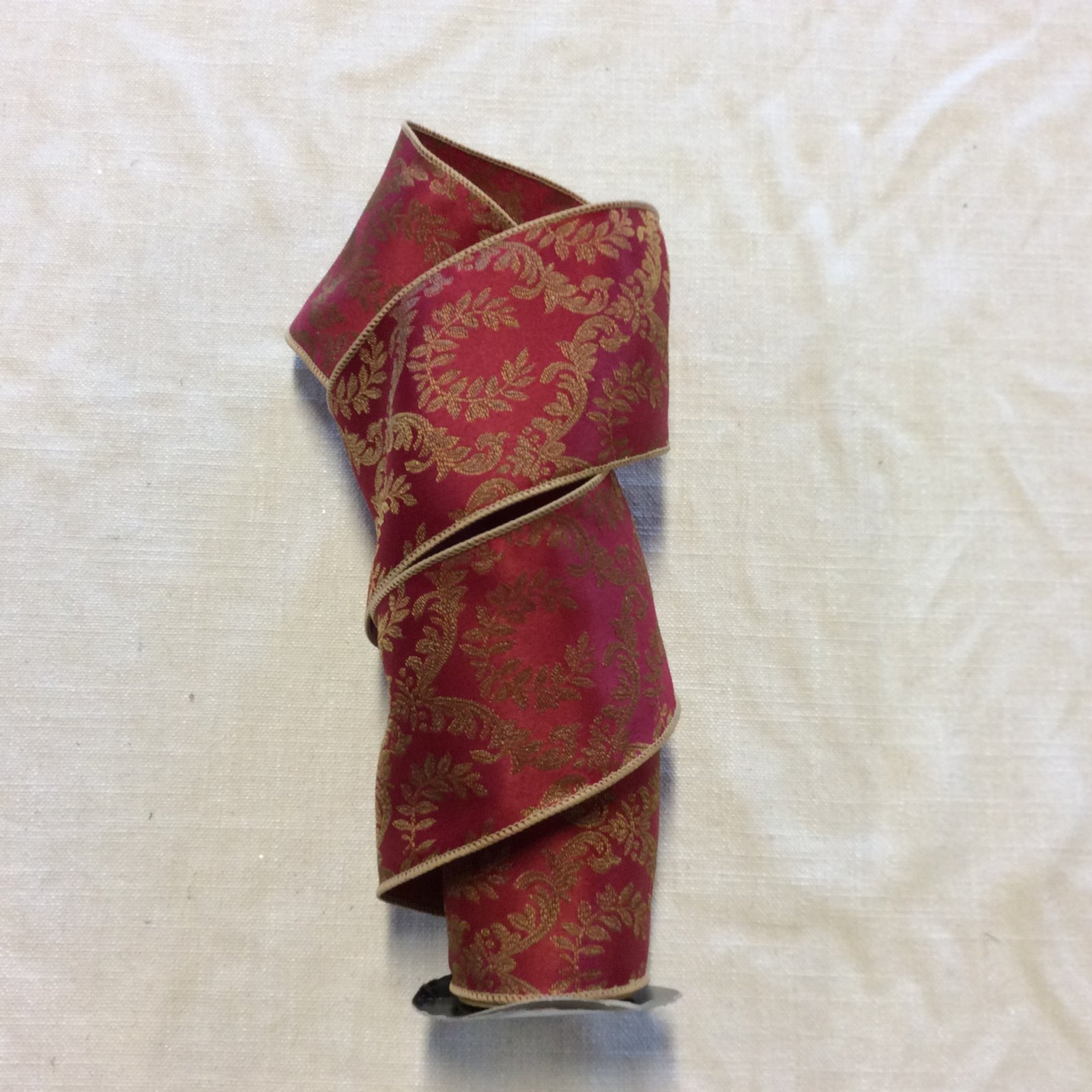 Red and Gold Brocade Damask Formal Holiday Wired Ribbon Decor Trim RIB1079