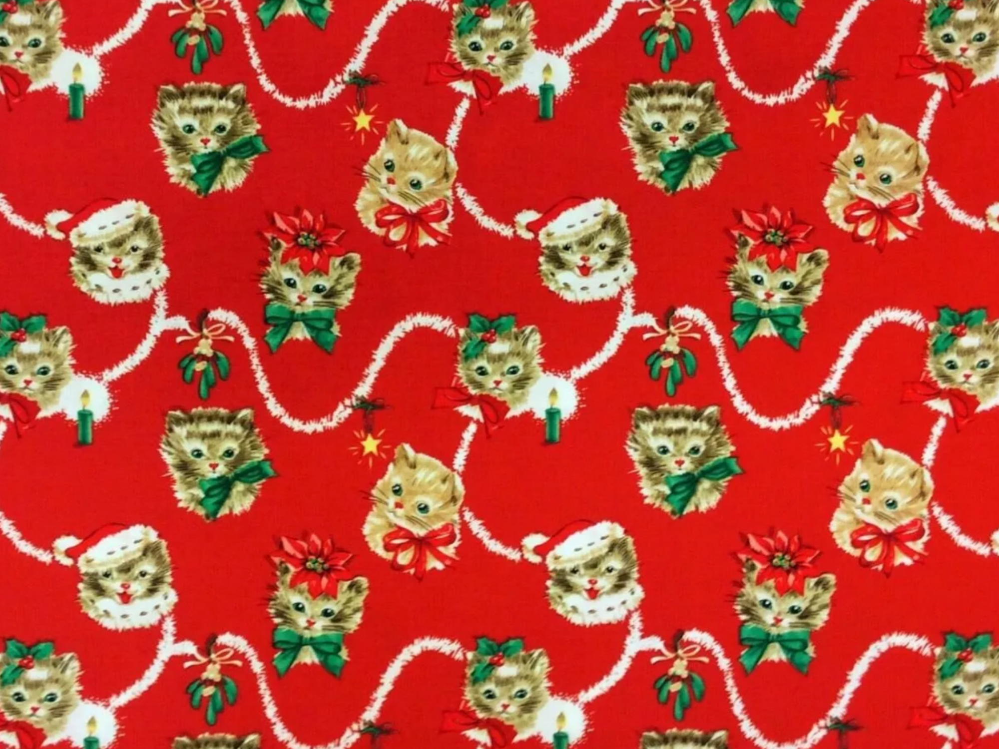 Christmas Cat Lover Kitty Cute Mistletoe Poinsettia Cotton Quilt Fabric MM115