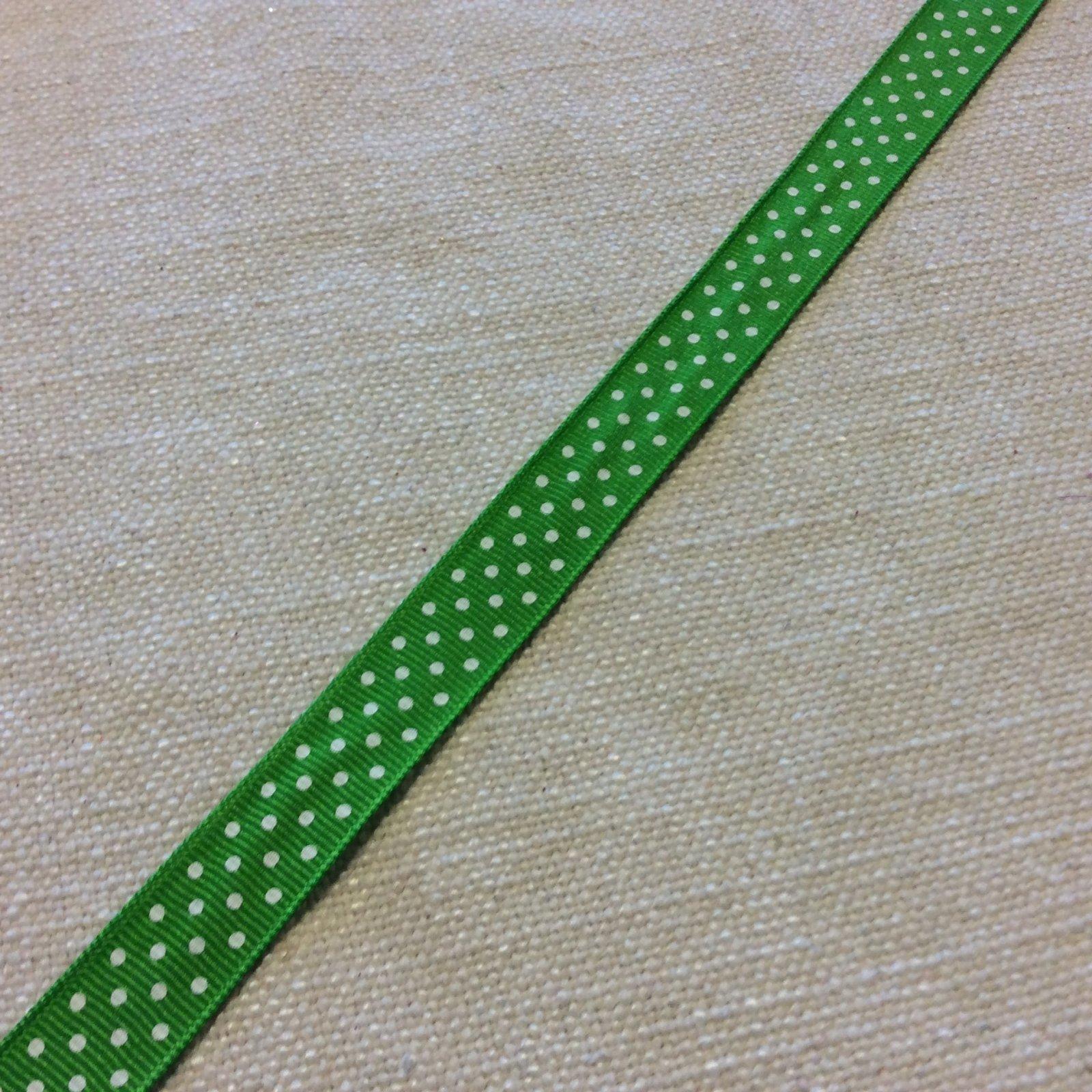 Grosgrain Ribbon Green White Polka Dot 5/8 Trim Ribbon RIB1117
