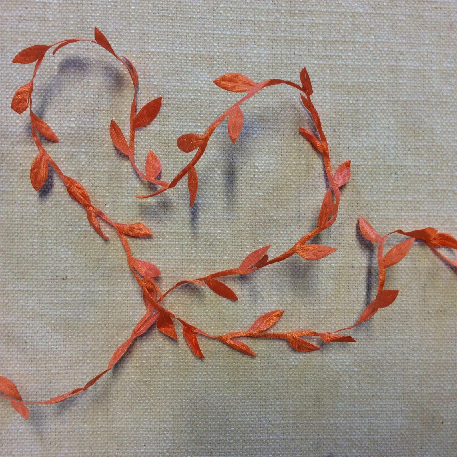 Leaf String Ribbon Orange Ribbon Apparel Trim RIB1123