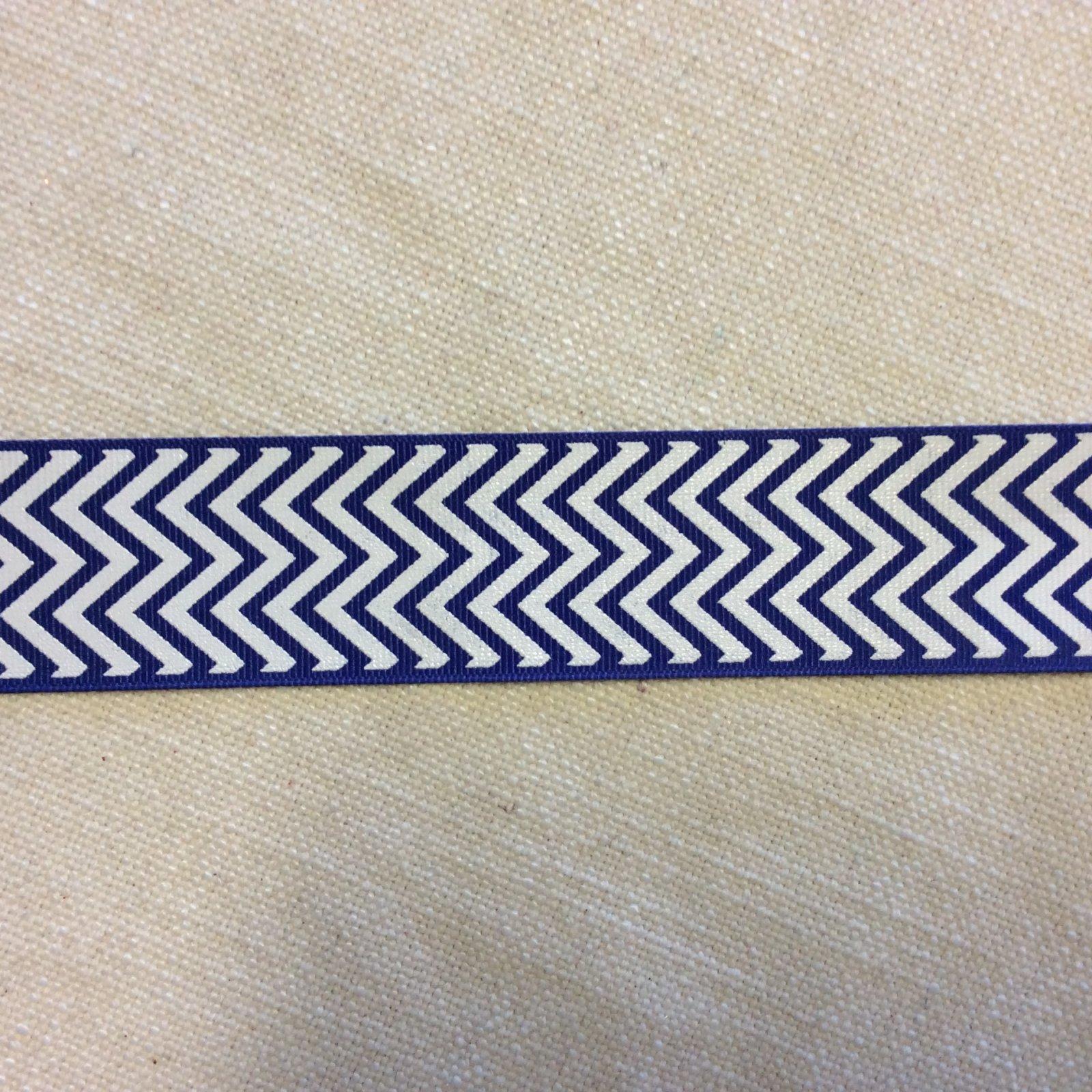 Printed Grosgrain Ribbon Blue and White Chevron 1.5 Wide Trim RIB1128