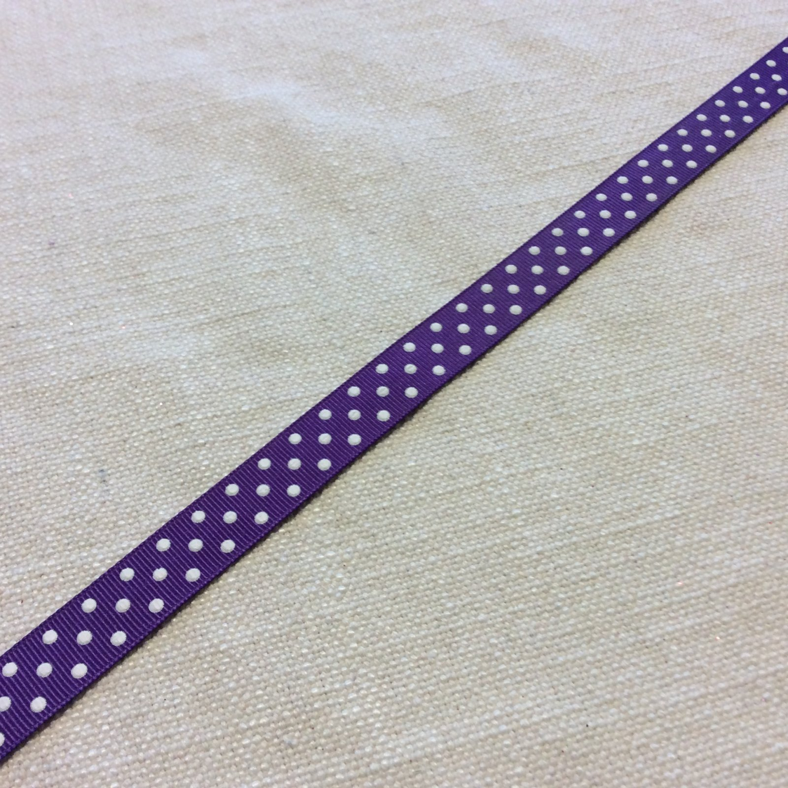 Grosgrain Ribbon 5/8 Printed Purple and White Polka Dot Trim Ribbon RIB1161