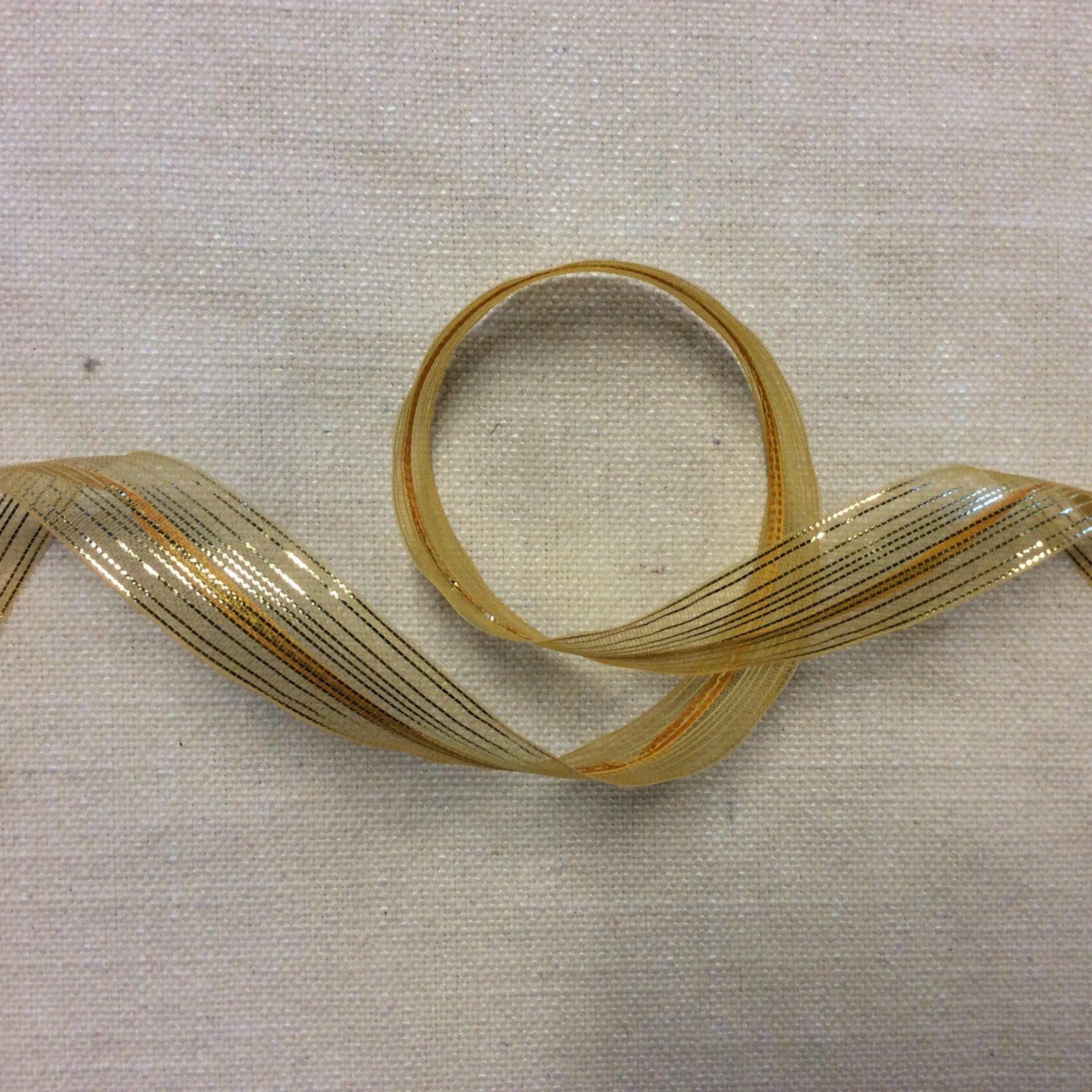 Organza Ribbon 1 Vintage Gold with Metallic Thread and Sewn on Cotton Braid Down Center Trim Ribbon RIB1191