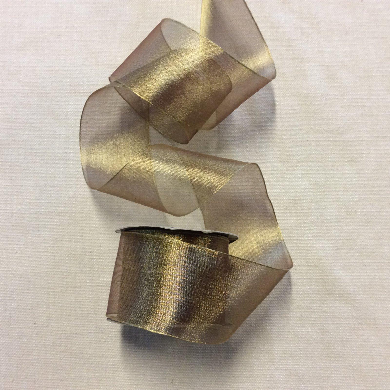 Organza Ribbon 2.5 Wired Gold Trim Ribbon RIB1226