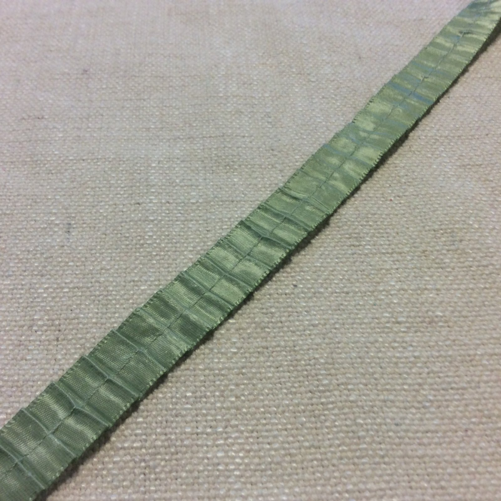 Satin Pleated Ruffle Ribbon 5/8 Celadon Green Apparel Trim Ribbon RIB1252