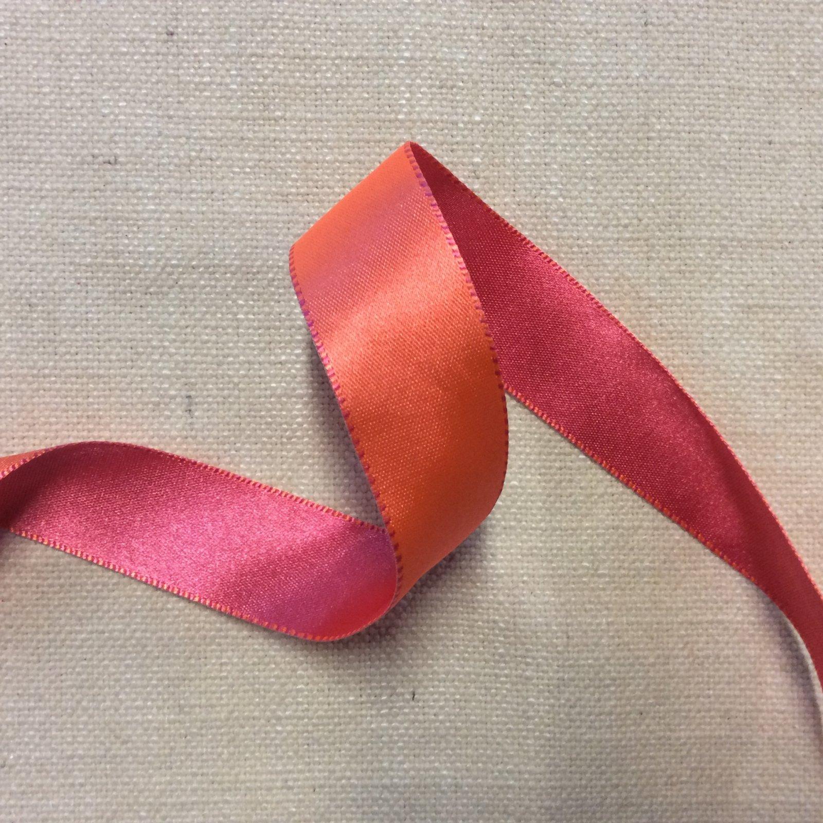 Reversible Satin Ribbon 1 Coral and Hot Pink Heavy Woven Trim Ribbon RIB1261