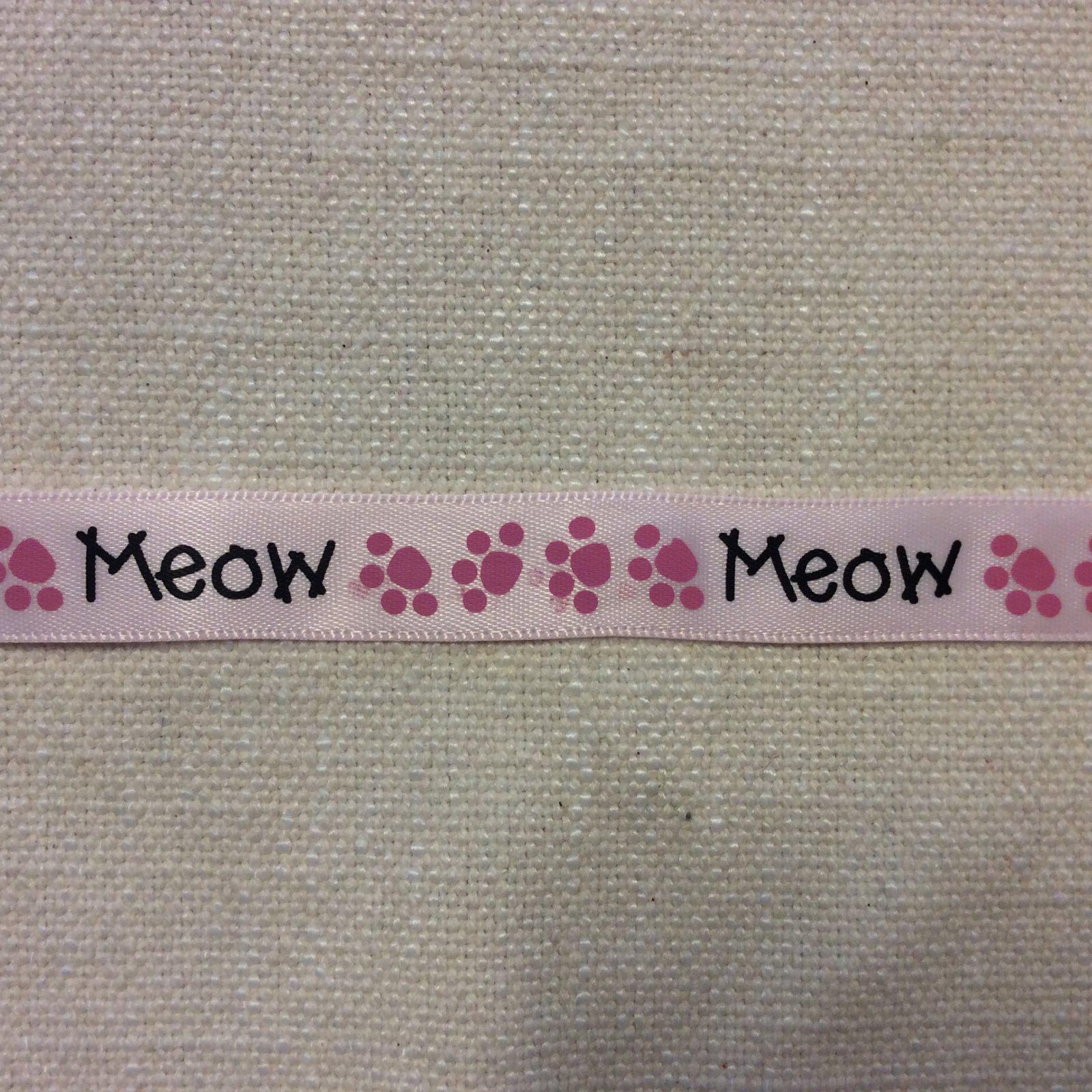 Satin Ribbon 5/8 Meow Cat Pawprint Trim Ribbon RIB1266